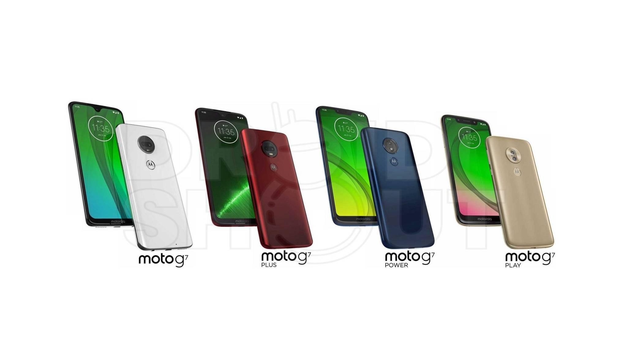 Das Moto G7, das G7 Plus, das G7 Power und das G7 Play setzen alle auf eine Notch.