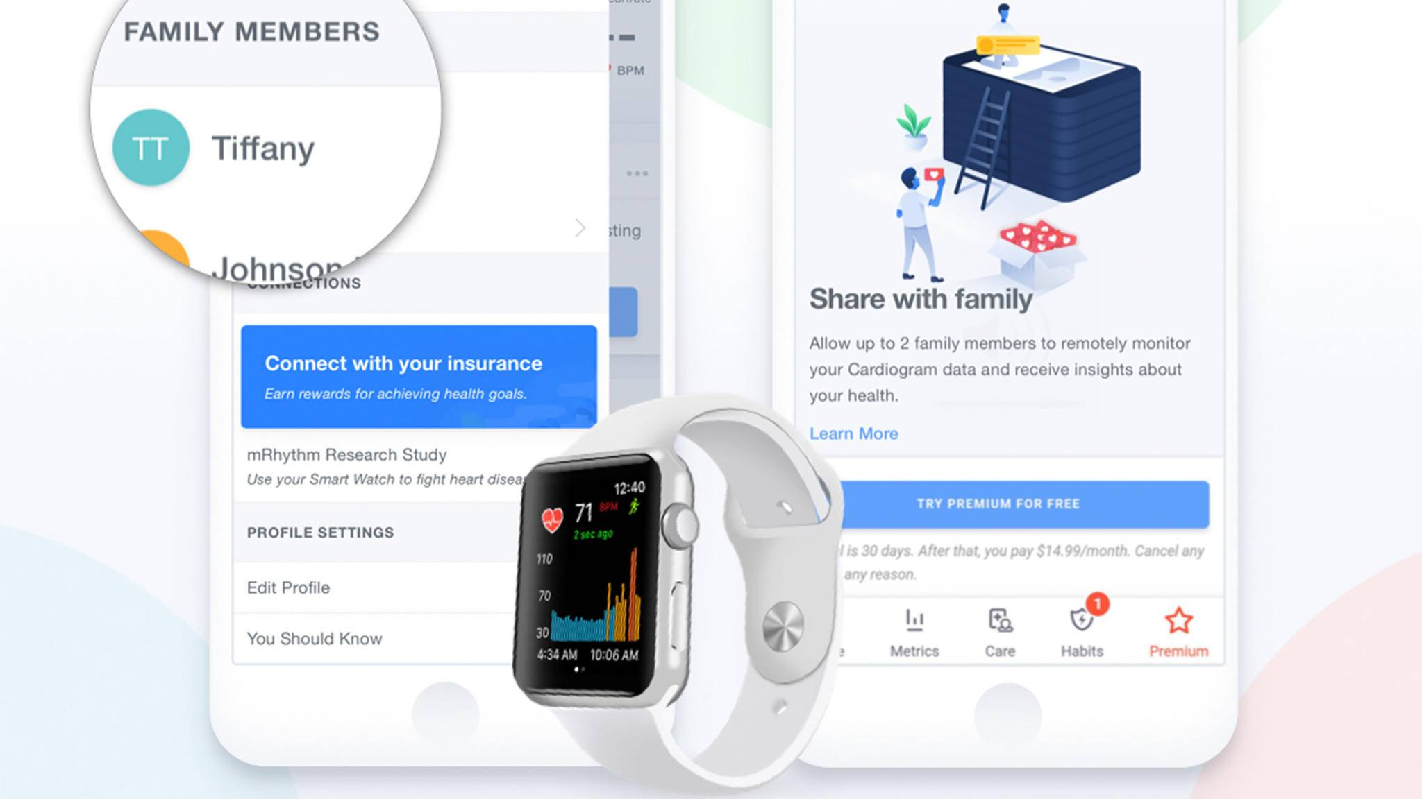 Der neue Family-Mode der Cardiogram-App lässt Dich Gesundheitsdaten mit Familienangehörigen teilen.