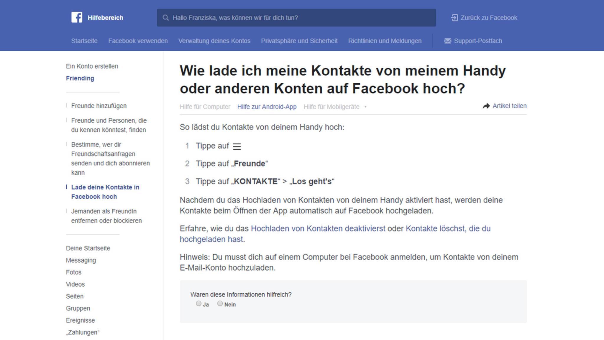 Facebook bekommen beide freundschaftsvorschläge Online Vision