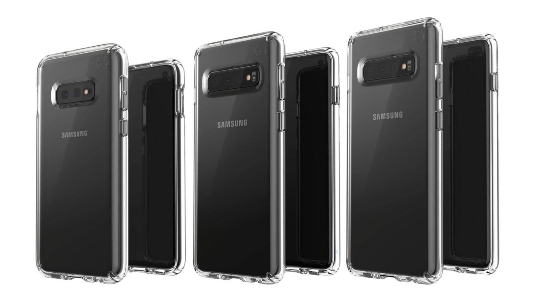 Hier sind angeblich das Galaxy S10E, das S10 und das S10 Plus zu sehen (von links nach rechts).