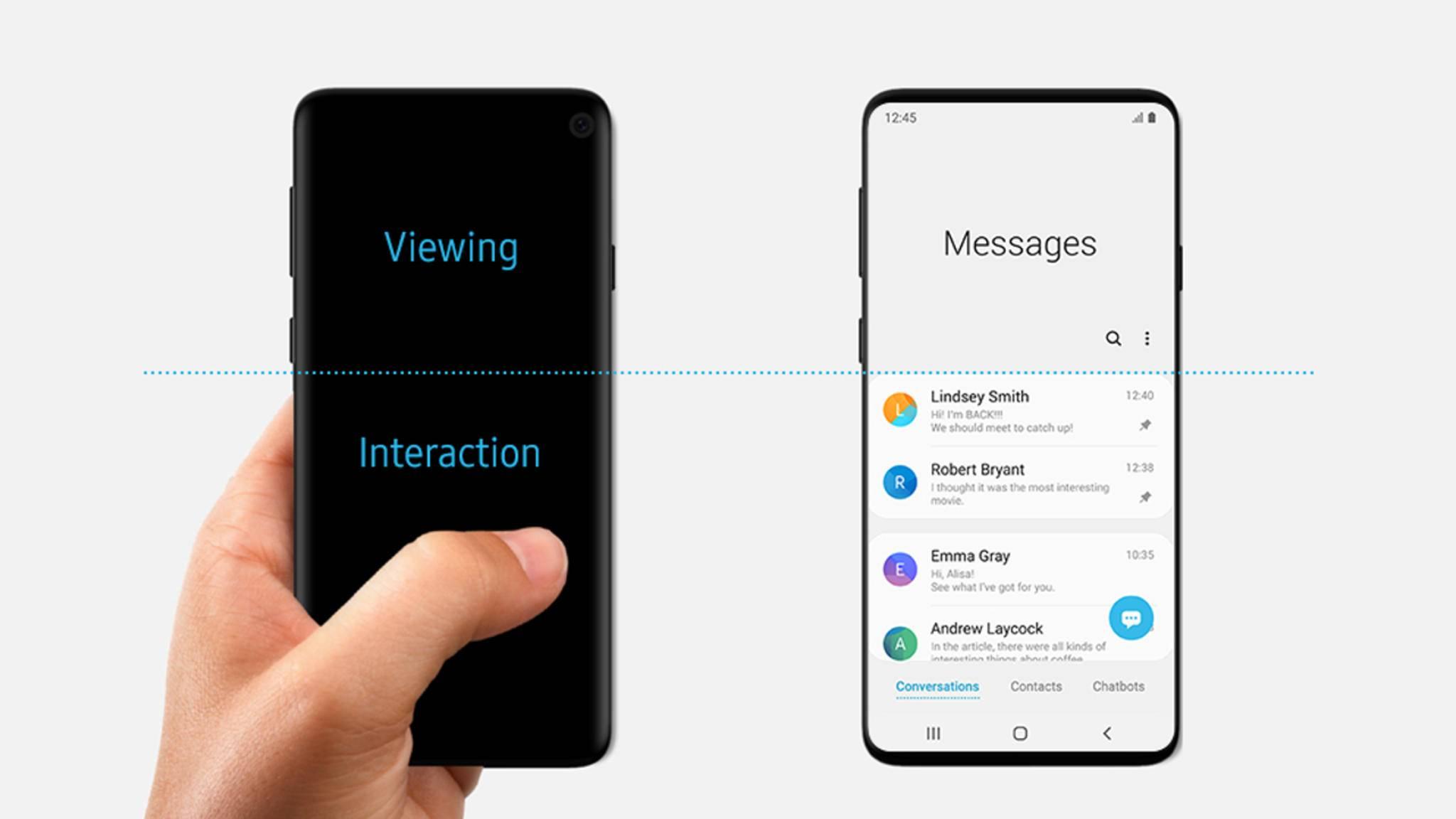 Auf diesem Bild von Samsung soll das Galaxy S10 bereits zu sehen sein.