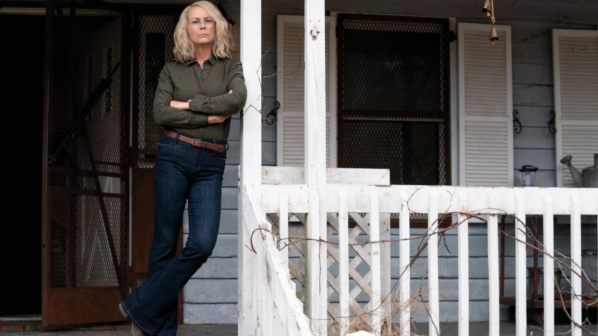 """Jamie Lee Curtis ist als Laurie Strode zurück am """"Halloween""""-Set."""