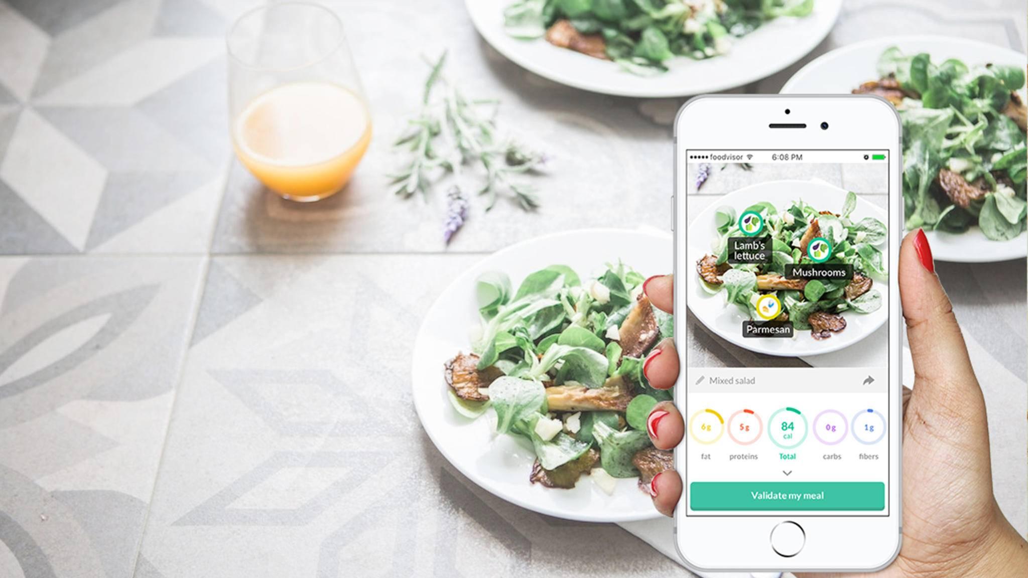 Kalorienzählen leicht gemacht: Der Nutzer schießt ein Foto seines Mahls und die App Foodvisor errechnet die Kalorien.