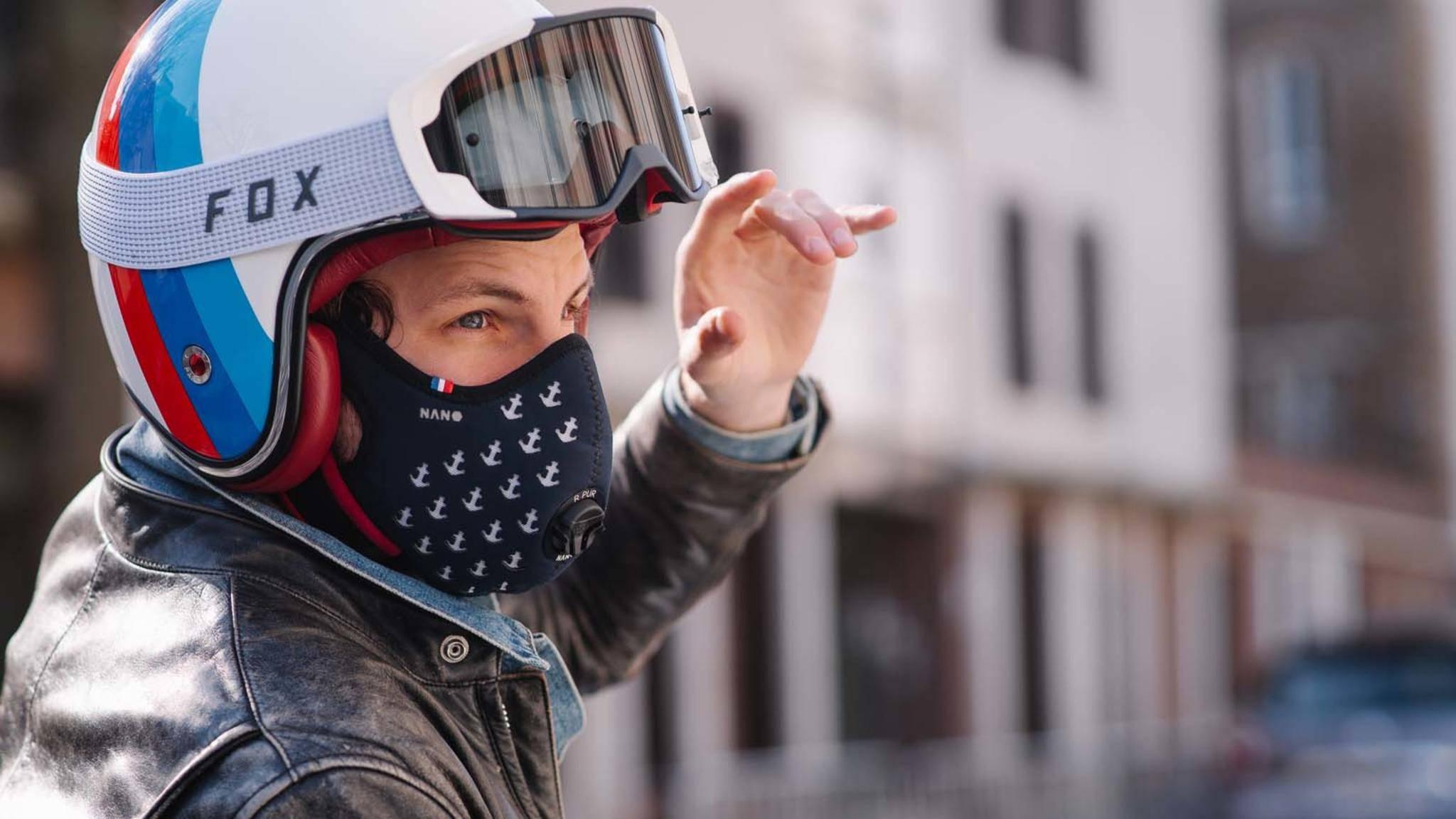 Die R-Pur-Nano-Maske soll Biker, Fahrradfahrer und Co. vor schlechter Luft schützen.