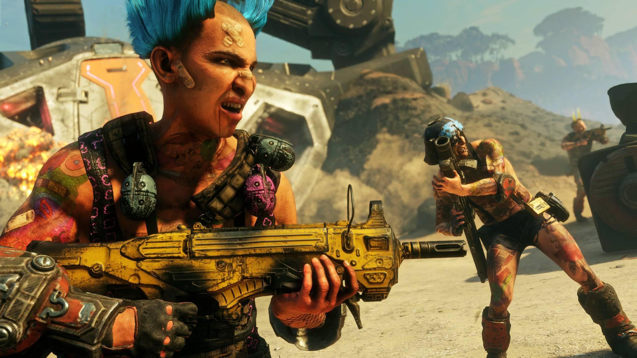 """Apokalypse und Spaß dabei: In """"Rage 2"""" steht durchgeknallte Baller-Action im Vordergrund."""