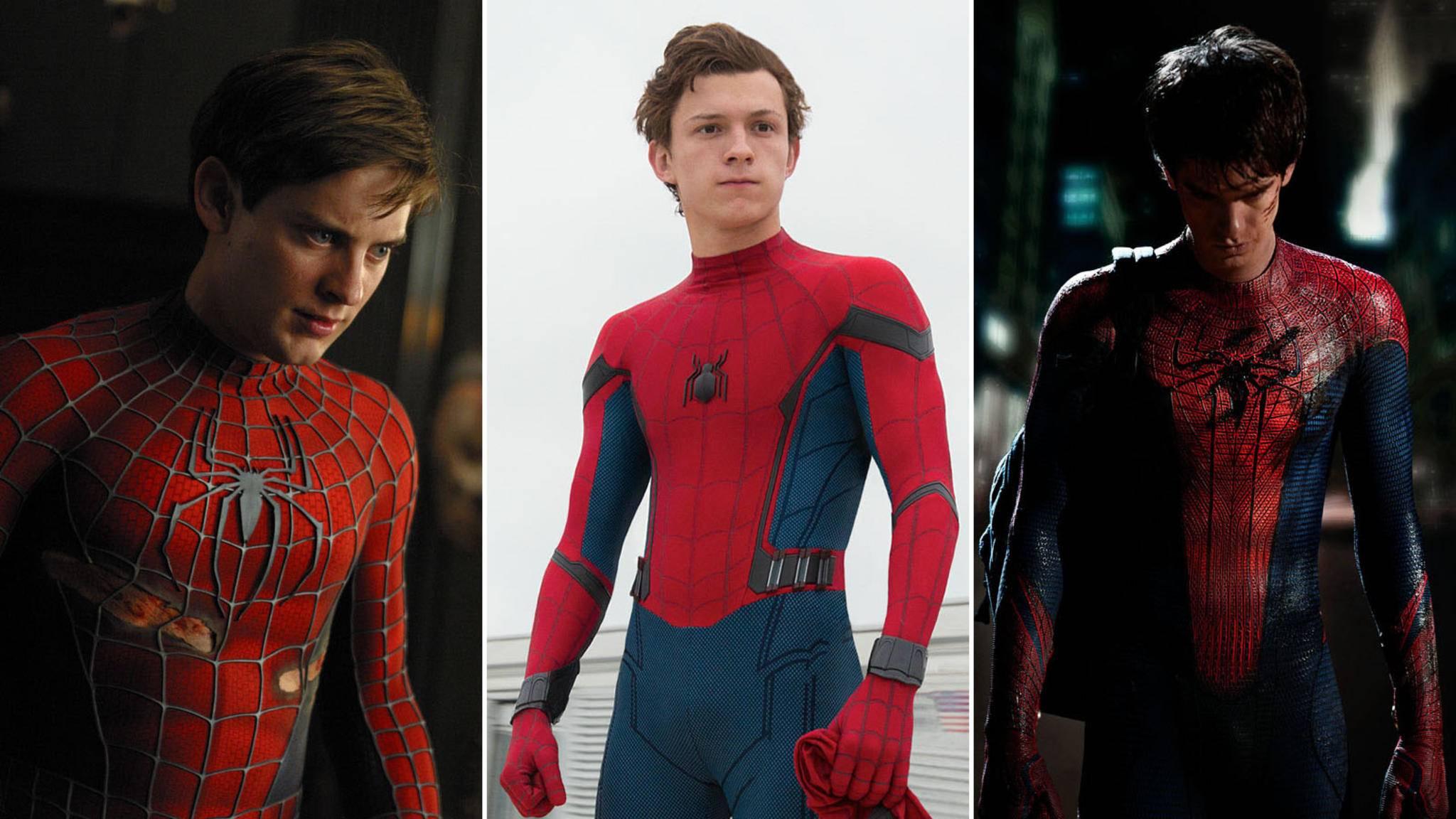 """Drei Spideys, ein Beinahe-Cameo: Tobey Maguire, Tom Holland und Andrew Garfield (von links) wären beinahe in """"Spider-Man: A New Universe"""" aufgetaucht."""