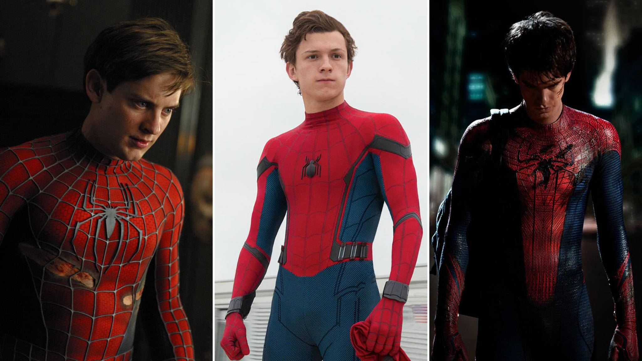 "Drei Spideys, ein Beinahe-Cameo: Tobey Maguire, Tom Holland und Andrew Garfield (von links) wären beinahe in ""Spider-Man: A New Universe"" aufgetaucht."