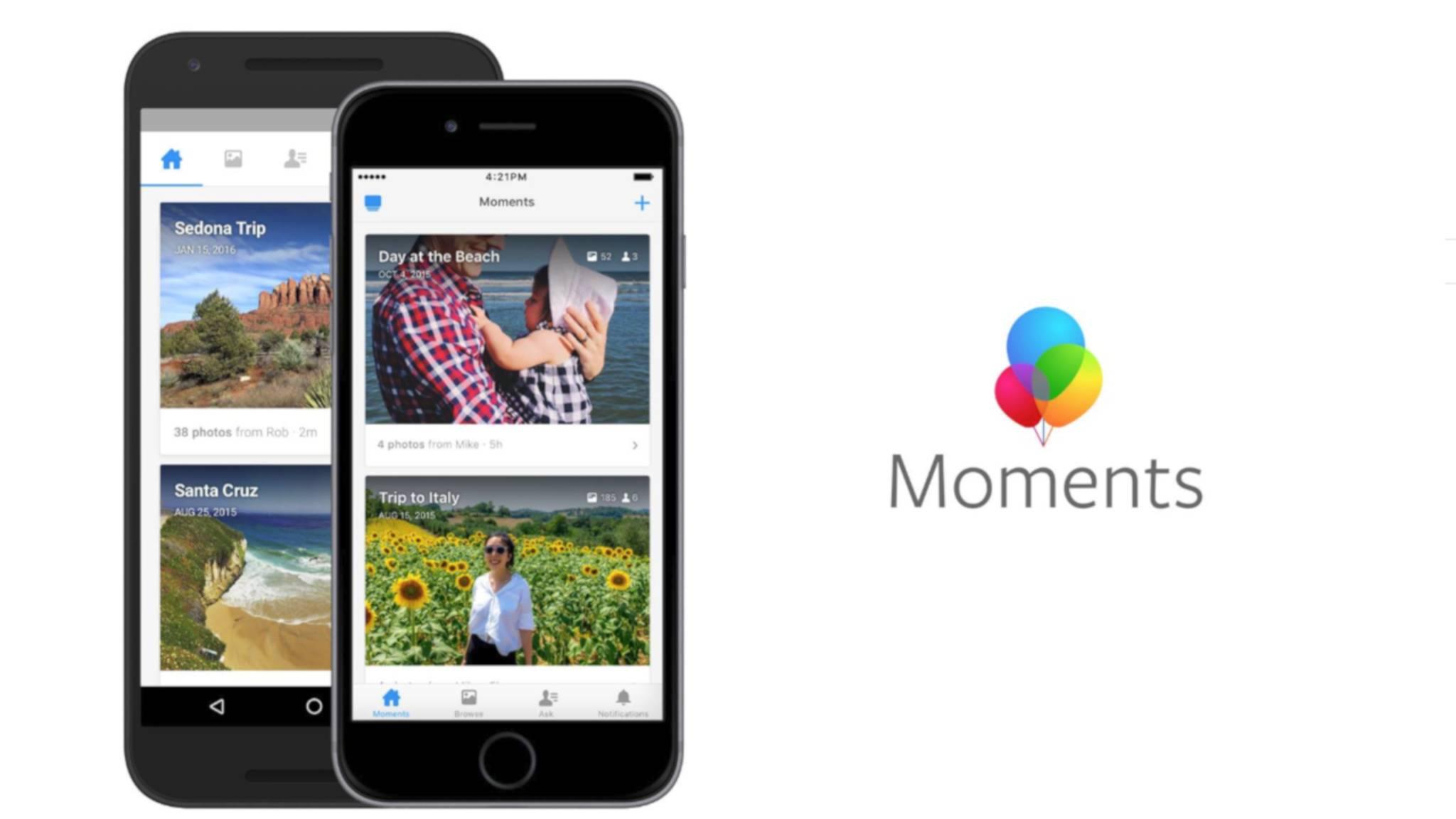 Facebook zieht den Stecker. Am 25. Februar wird die Moments-App dicht gemacht.