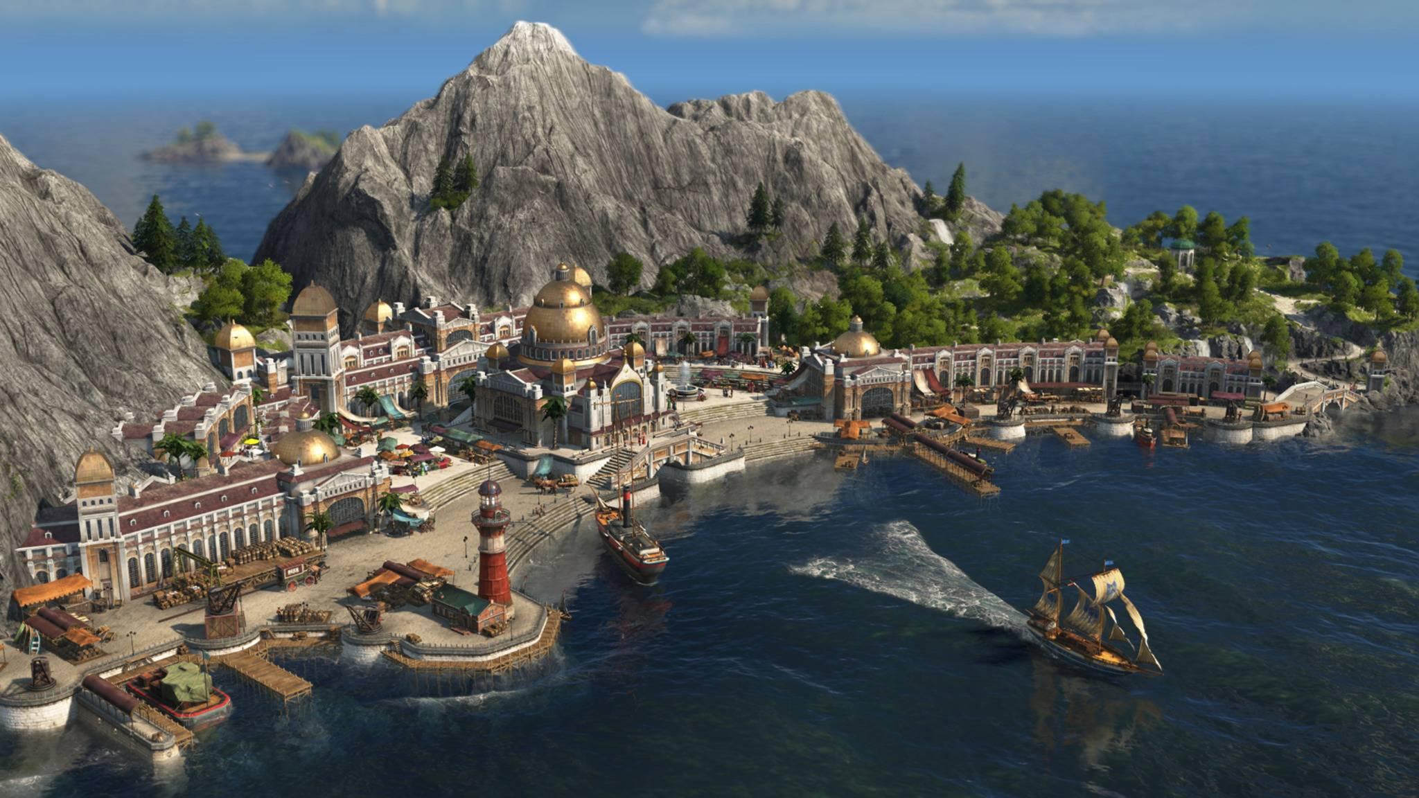 Für optimale Produktionsbedingungen musst Du Deine Arbeiter von einer Insel zur anderen schicken.