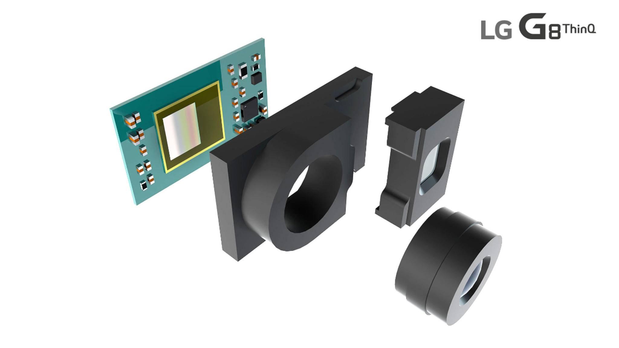 Auf der Vorderseite des LG G8 ThinQ blickt der Nutzer in eine 3D-Kamera.