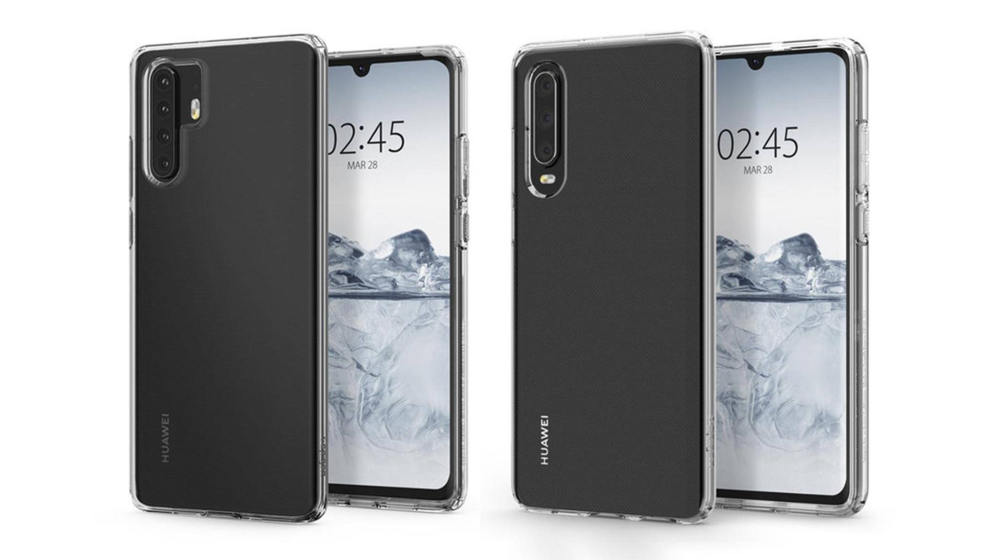 Das Huawei P30 Pro (links) wird tatsächlich vier Hauptkameras bieten (hier ein inoffizielles Bild von einem Hüllenmacher).