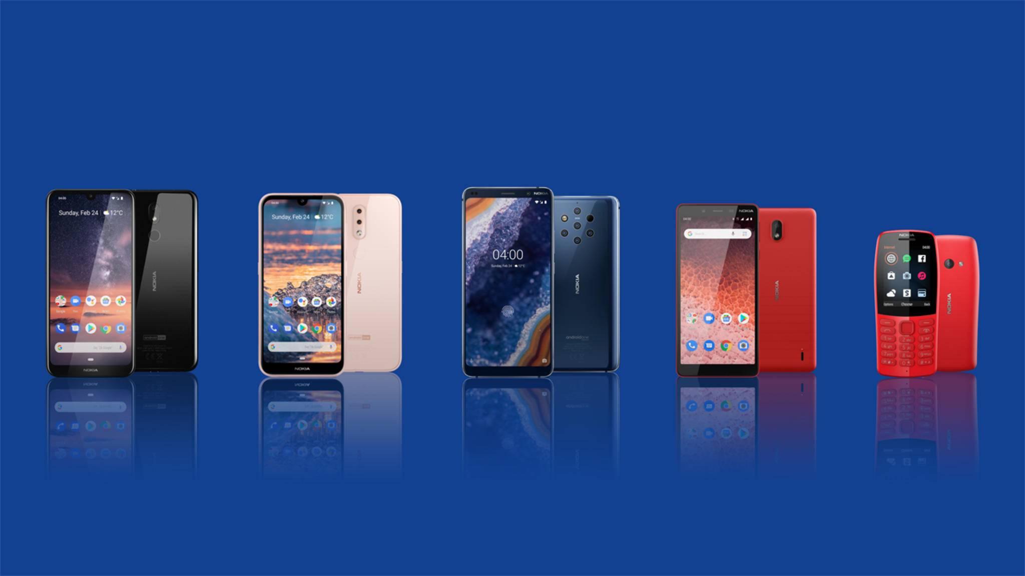 Nokia zeigt vier neue Smartphones und ein Feature Phone auf dem MWC 2019.