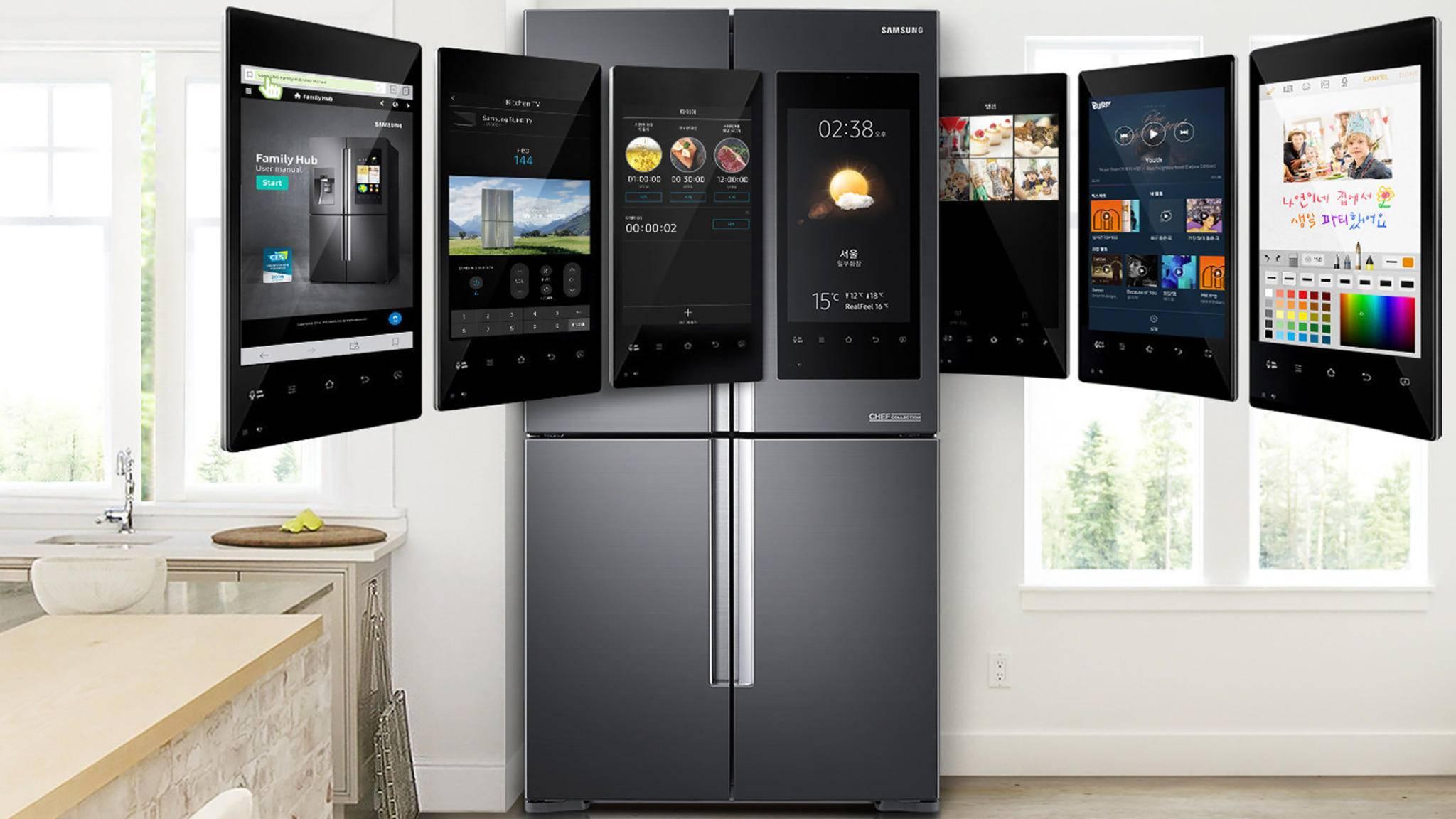 Smarte Kühlschränke wie die Modelle der Family-Hub-Reihe von Samsung machen die Küche zur Kommandozentrale des Smart Homes.