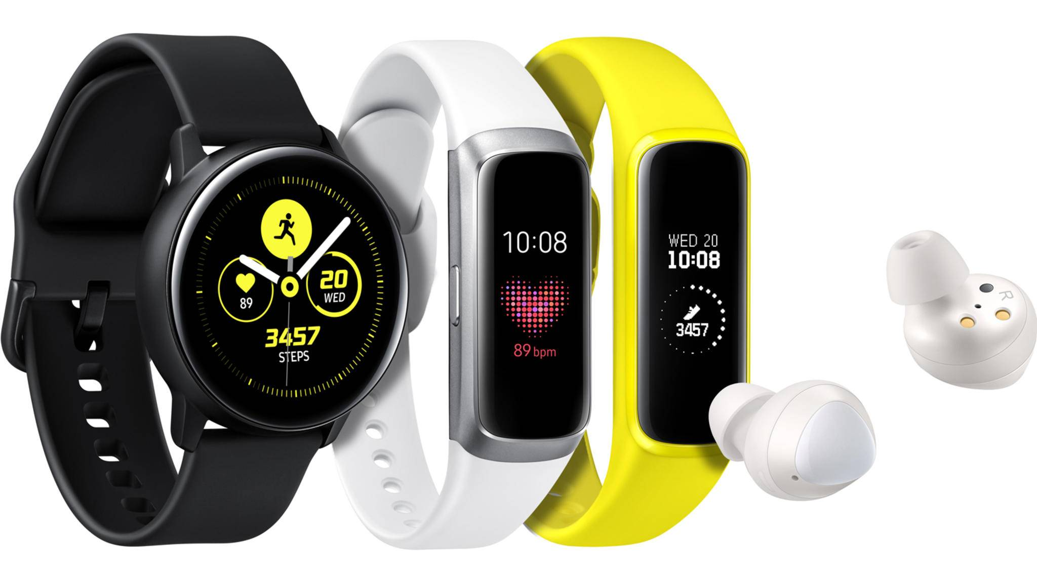 Endlich vorgestellt: Samsung Galaxy Watch Active, Samsung Galaxy Fit und die Samsung Galaxy Buds.