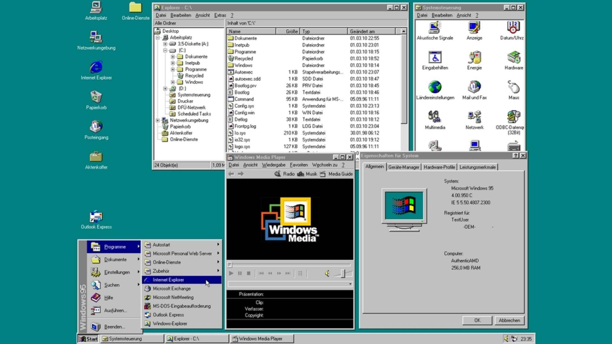 Windows 95 lässt sich als App auf modernen Rechnern nutzen.