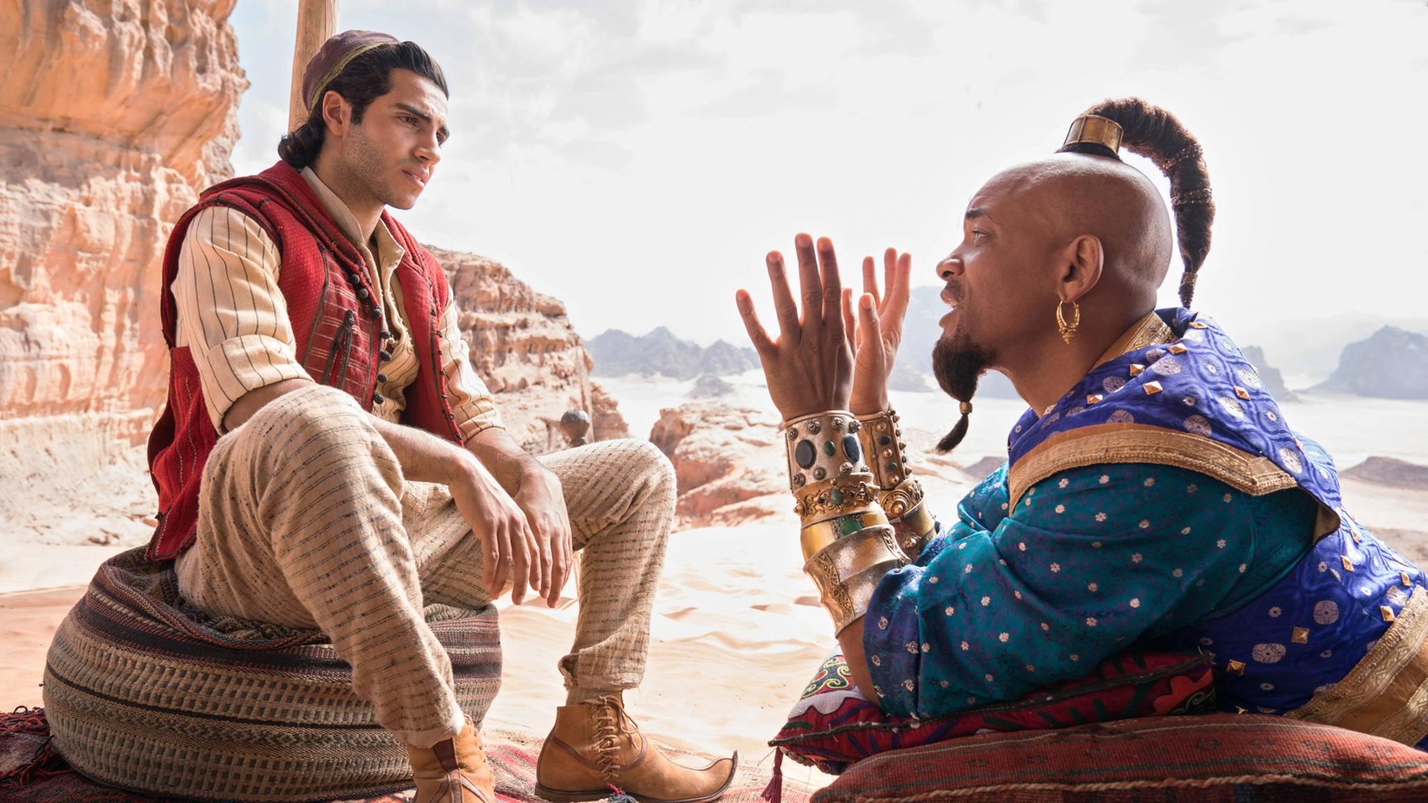 Aladdin und Dschinni präsentieren sich auf einem neuen Poster.