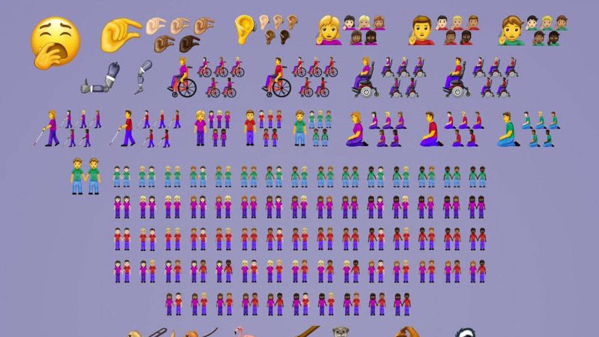 Inklusive aller Variationen wurden 230 neue Emojis vorgestellt.
