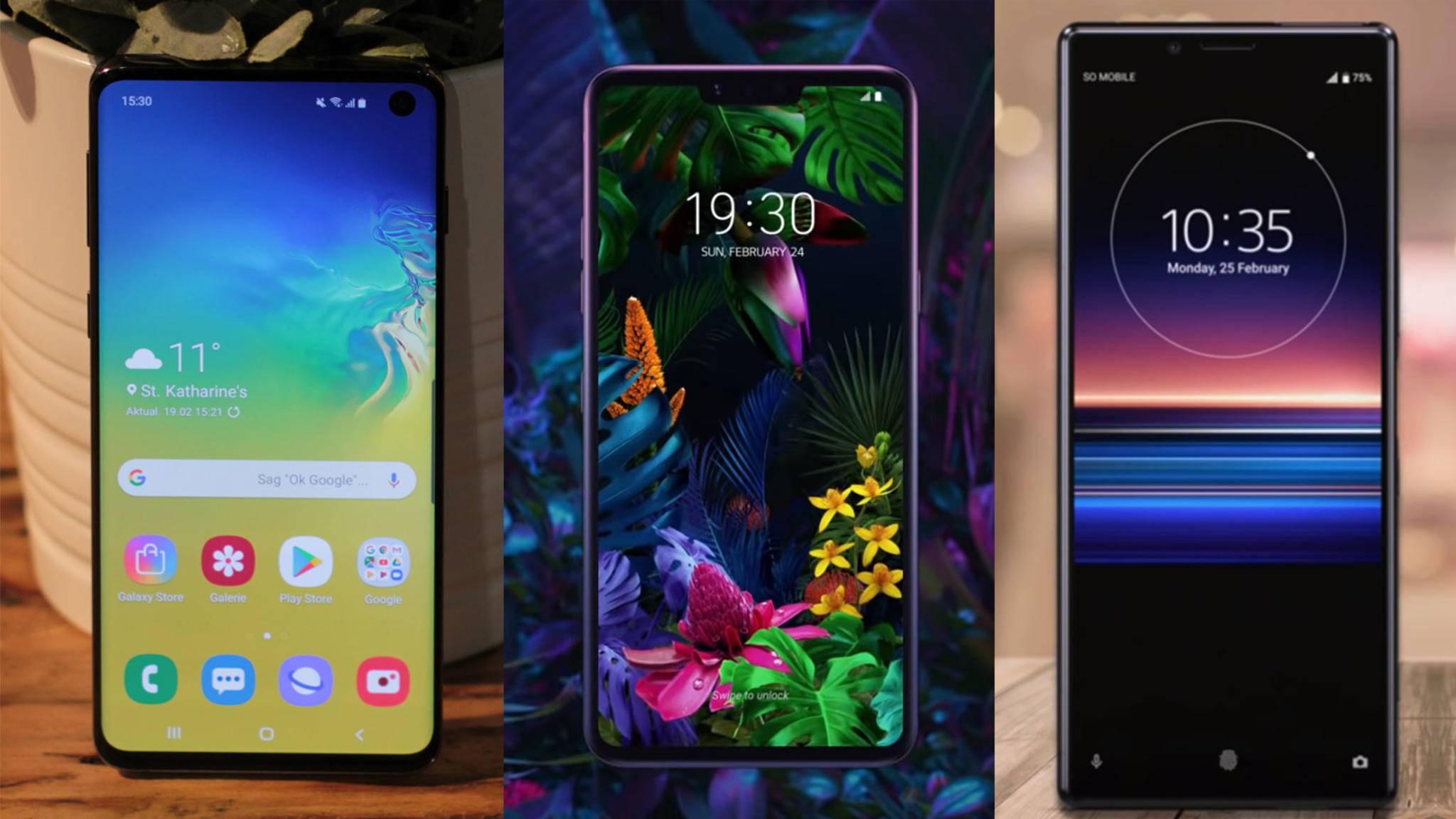 Unser Vergleich erläutert die Unterschiede zwischen dem Galaxy S10, dem LG G8 ThinQ und dem Xperia 1.