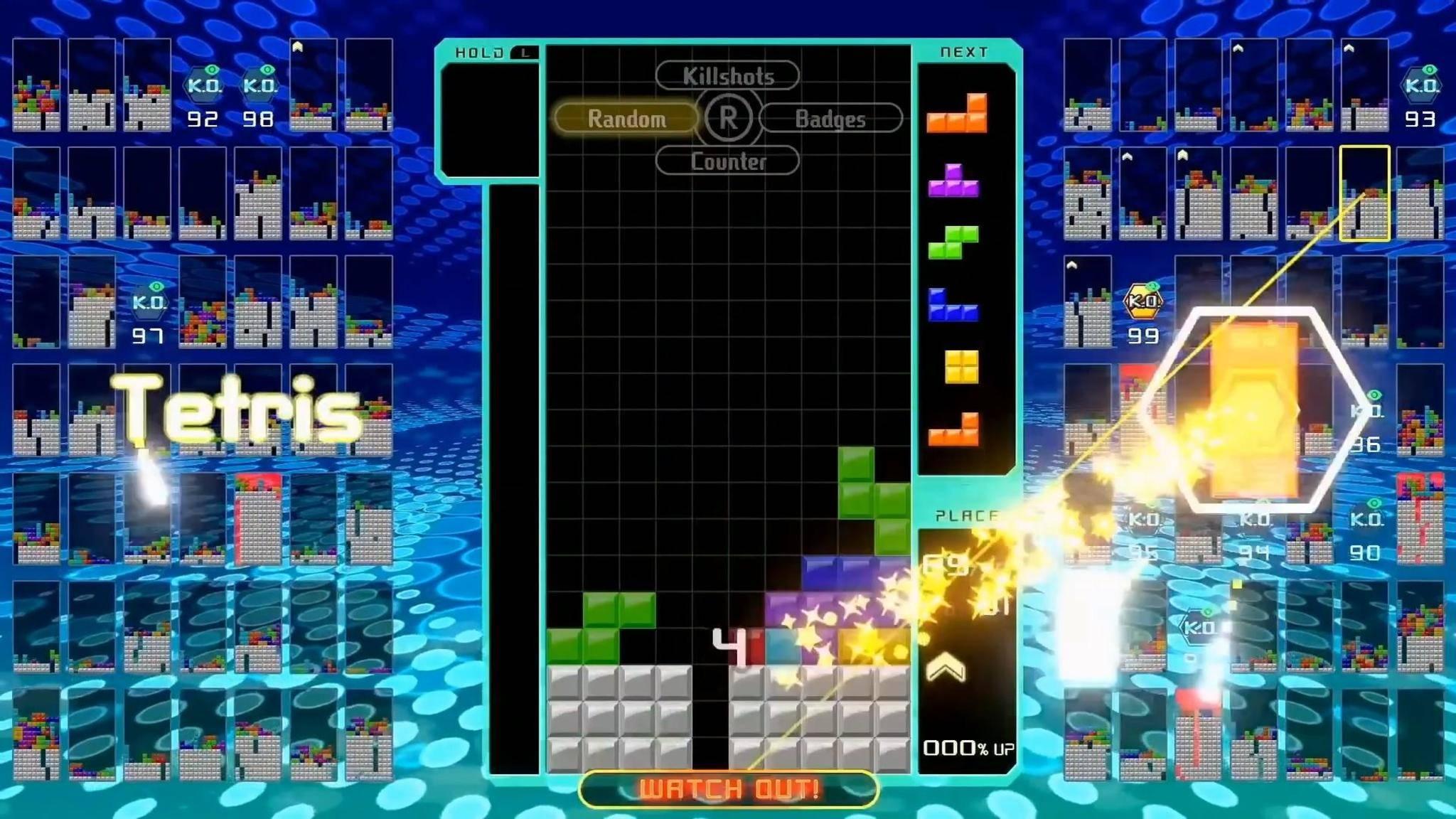 """Wem """"Tetris"""" bislang zu entspannt war, der tritt nun in """"Tetris 99"""" gegen 98 andere Spieler an."""