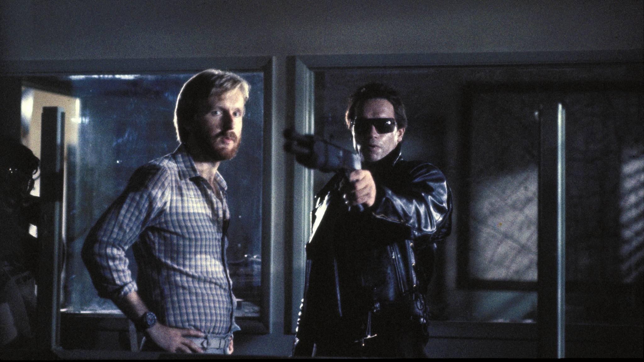 """Nach """"T2"""" kehrte James Cameron (links im Bild) dem """"Terminator""""-Franchise den Rücken. Für """"Dark Fate"""" feiert er als Produzent sein Comeback."""