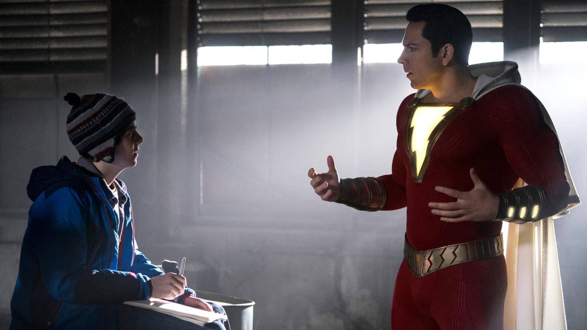 """Jack Dylan Grazer (links) und Zachary Levi (rechts im Bild) ernteten für ihre Darbietung in """"Shazam!"""" schon jetzt reichlich Lob."""