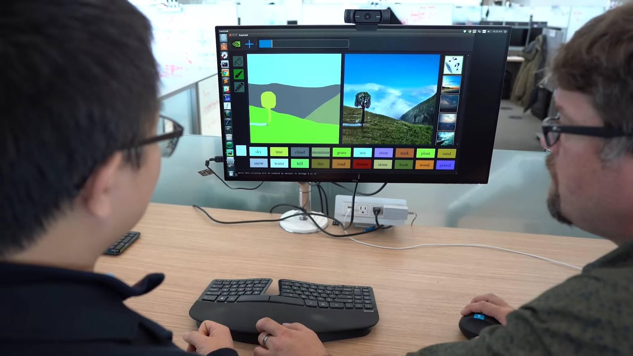 Ein KI-Programm von Nvidia verwandelt Skizzen in fotorealistische Landschaftsbilder.