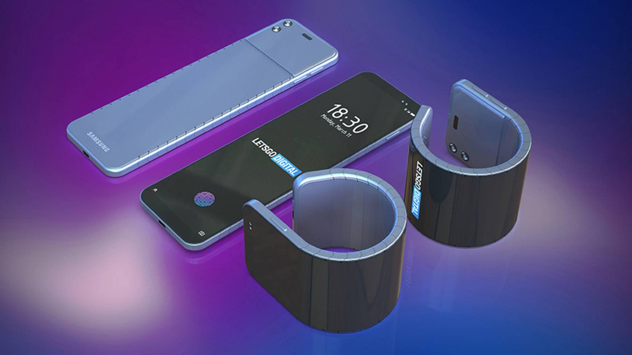 Samsung könnte an einem faltbaren Handy für das Handgelenk arbeiten.