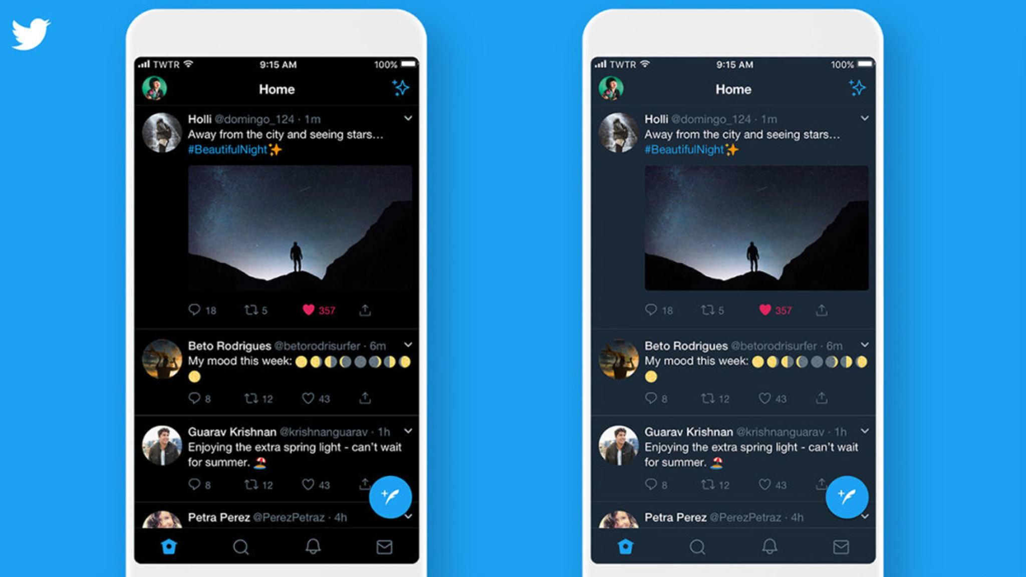 Einen Dark Mode (rechts) hat Twitter schon länger, aber erst jetzt wird's richtig schwarz (links).