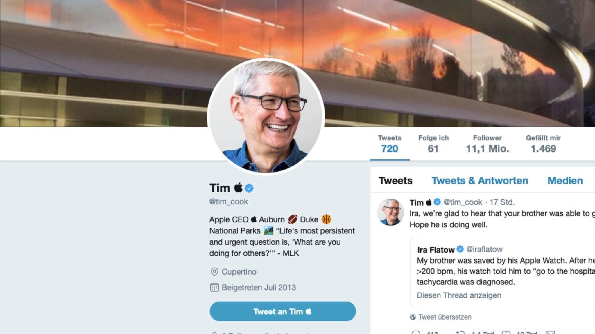 Apple-Boss Tim Cook nimmt Trumps Versprecher mit Humor.