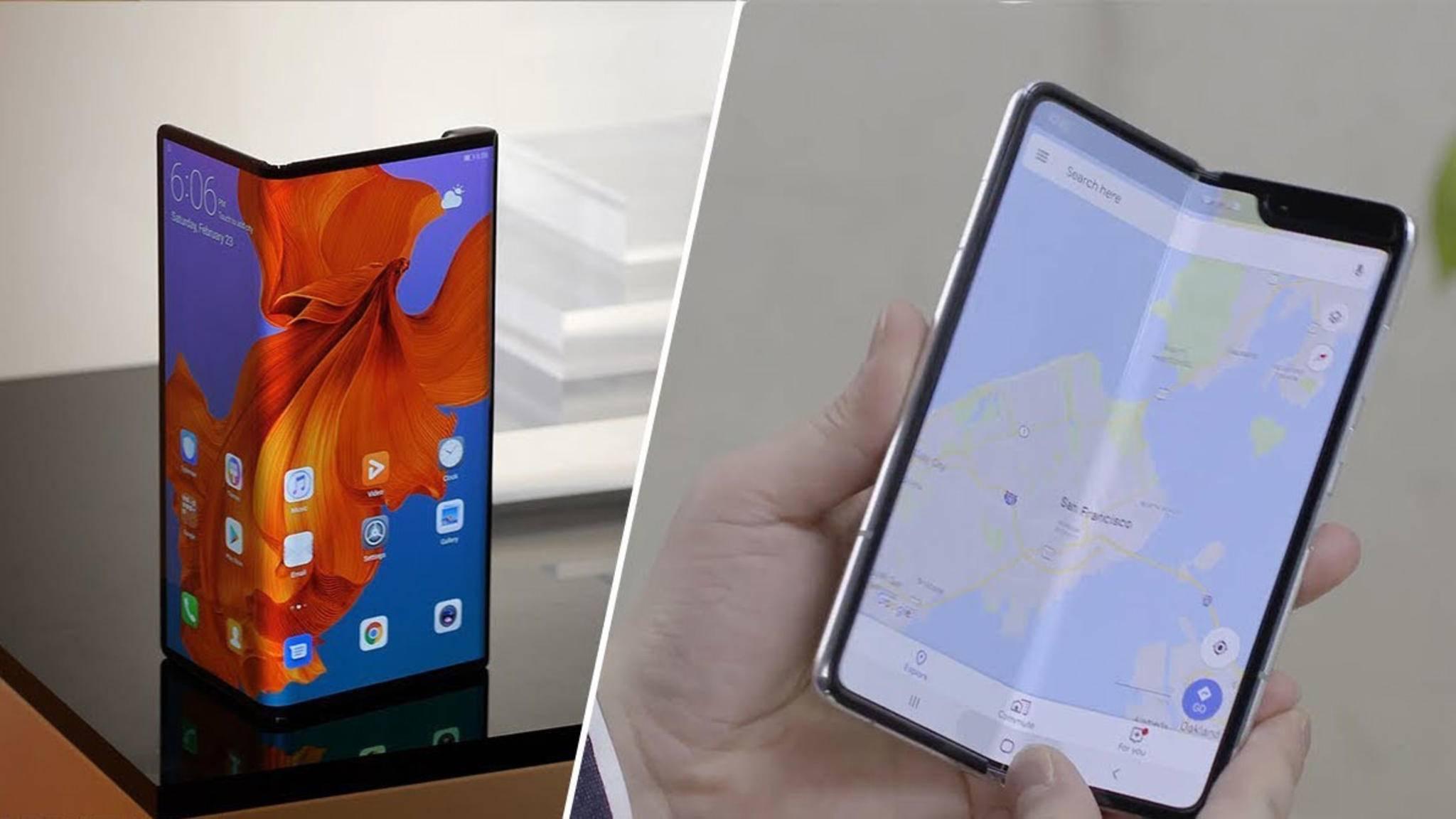 Die Smartphones von Huawei und Samsung lassen sich zwar beide falten, unterscheiden sich in ihrem Mechanismus aber erheblich.