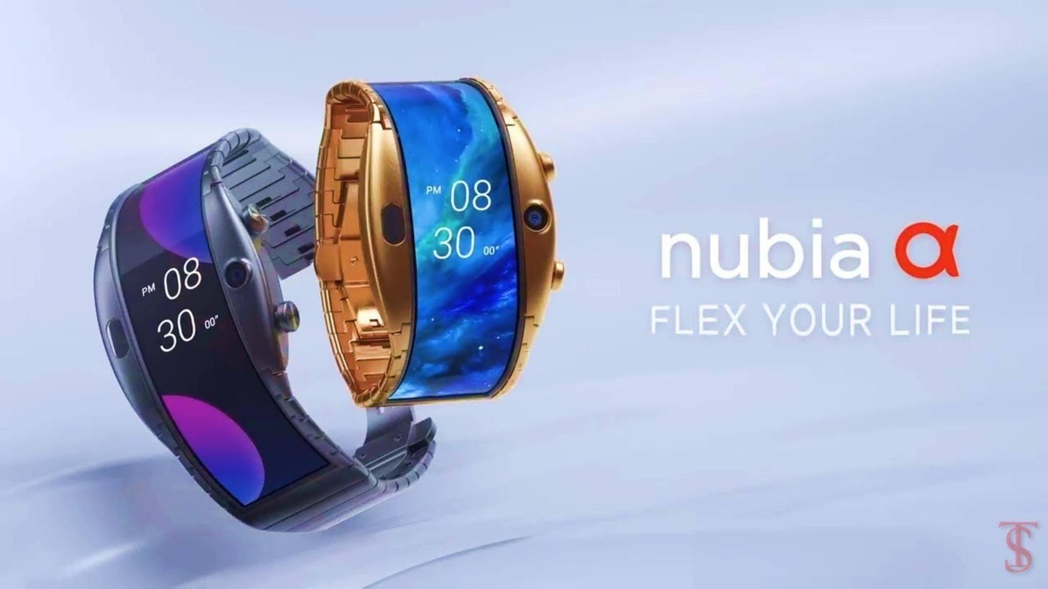 Die Nubia Alpha wird um das Handgelenk geschnallt.