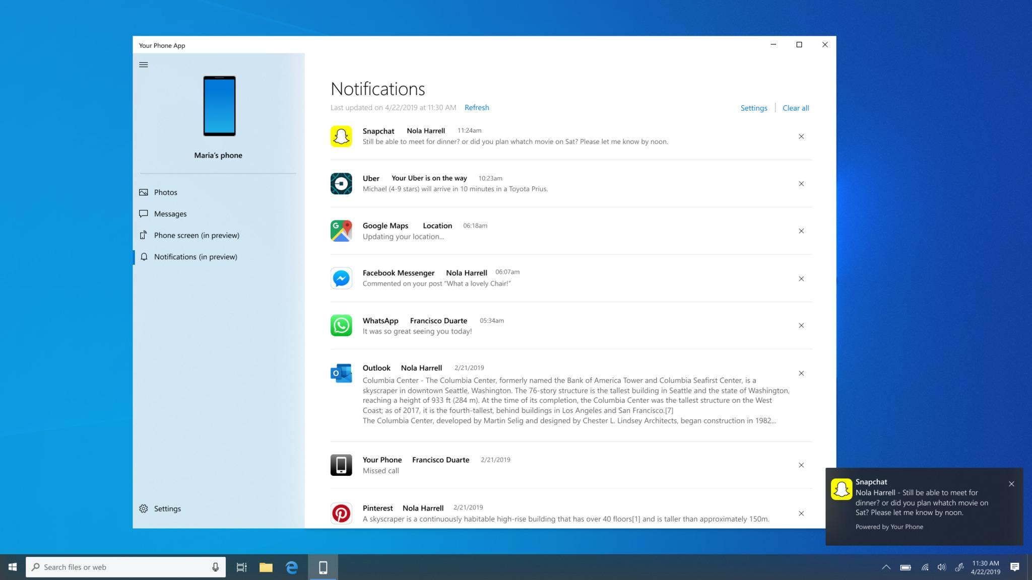 Die Your-Phone-App zeigt bald Benachrichtigungen vom Android-Smartphone auf dem Windows-Desktop an.