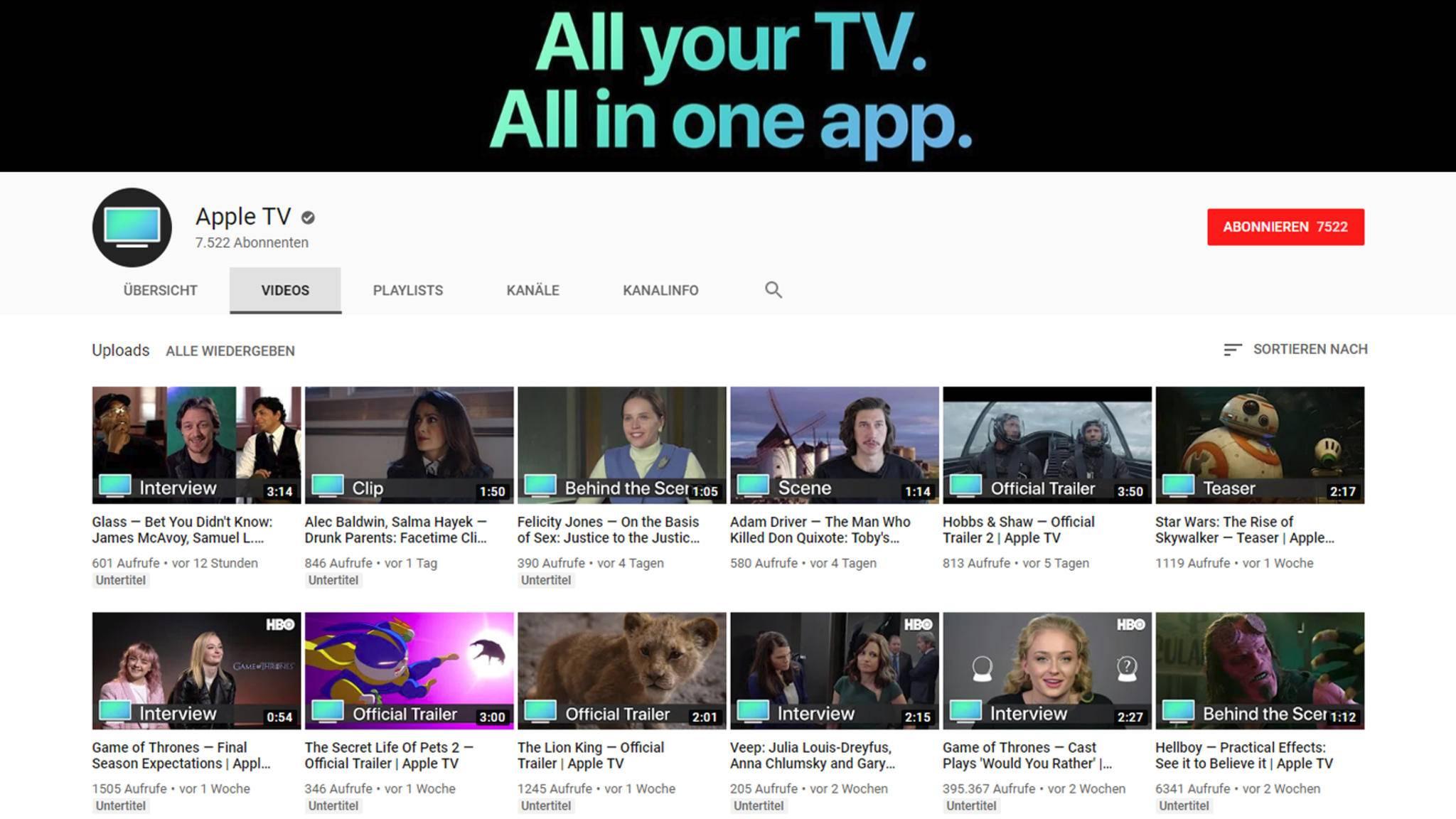Seit vier Wochen gibt es Apple TV als YouTube-Kanal – und kaum einer hat es gemerkt.