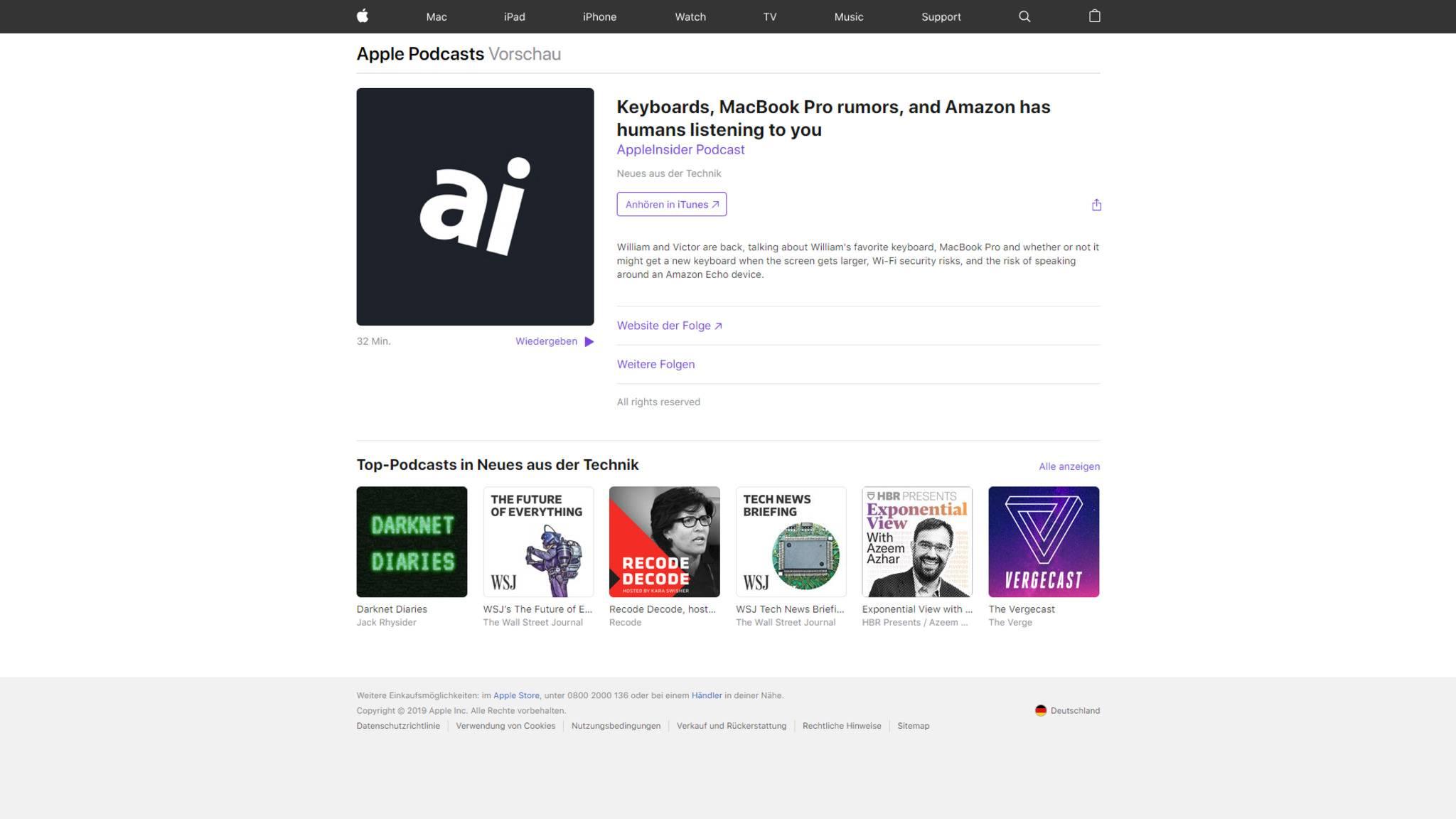Neuerdings lassen sich Apple Podcasts auch direkt über das Webinterface starten.