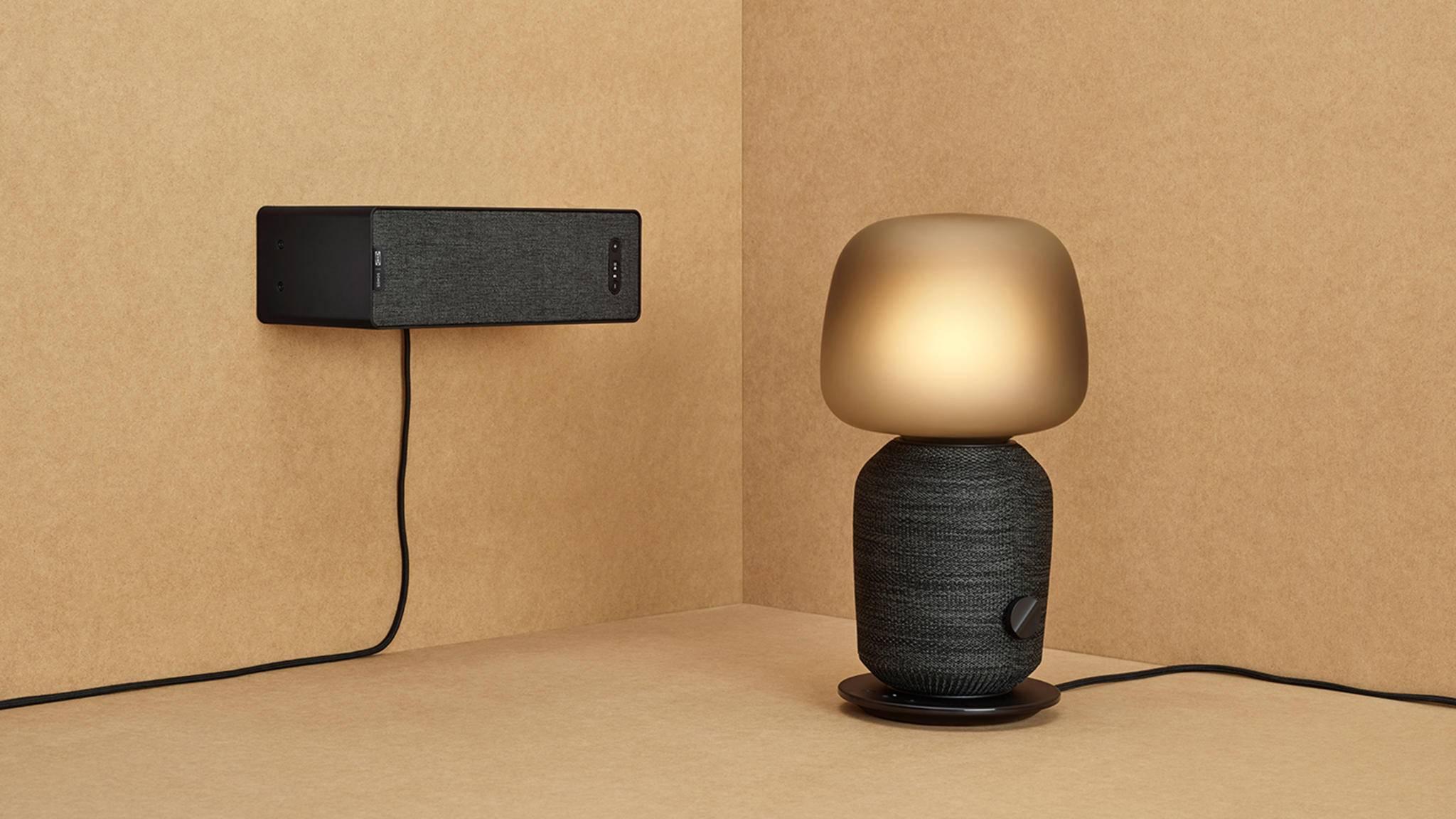 Sound und Licht vereinen sich in der Tischleuchte mit Wi-Fi-Speakern (rechts), die Ikea und Sonos gemeinsam entwickelten.