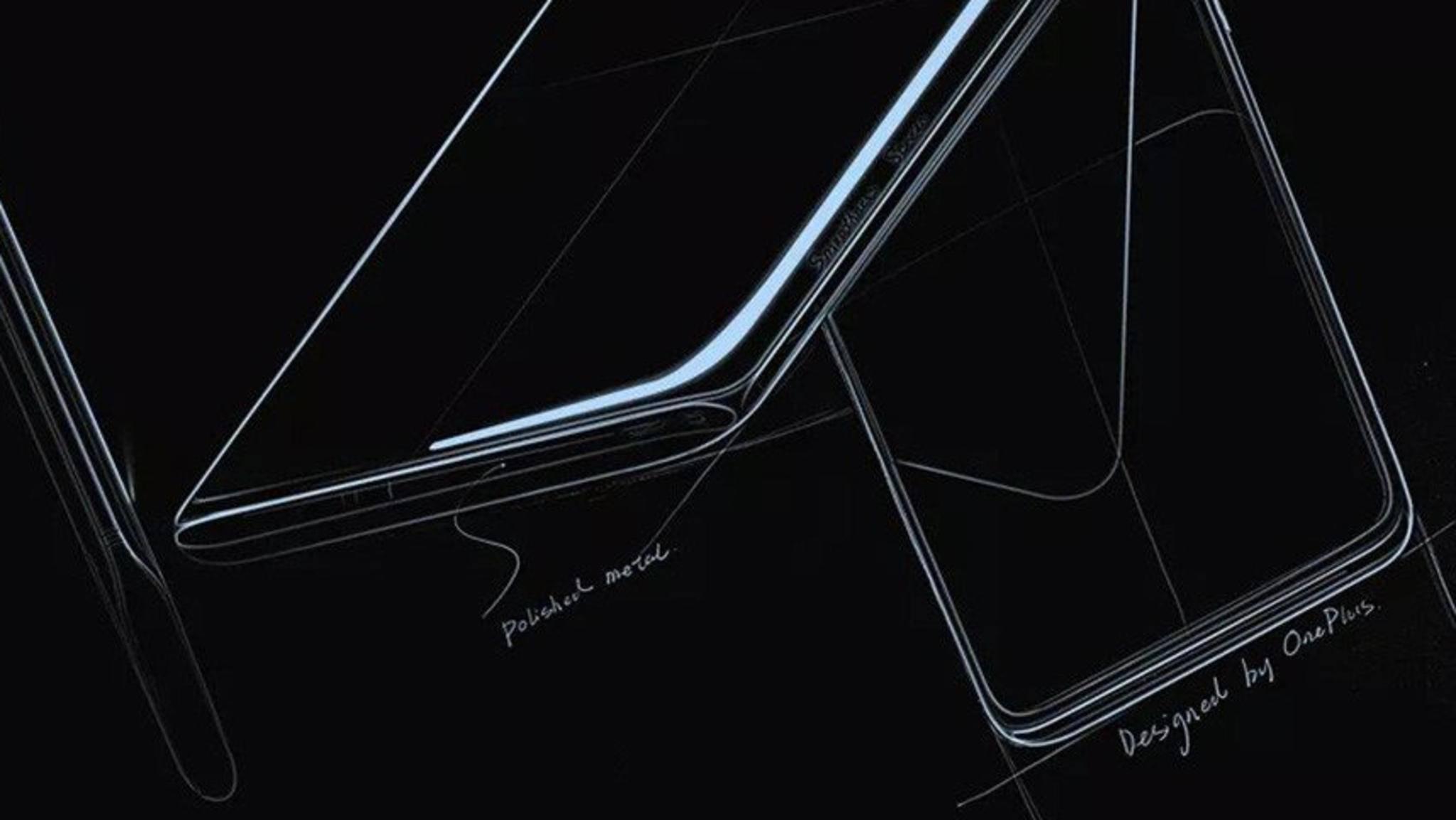 So sieht das OnePlus 7 Pro in einer Designskizze aus.