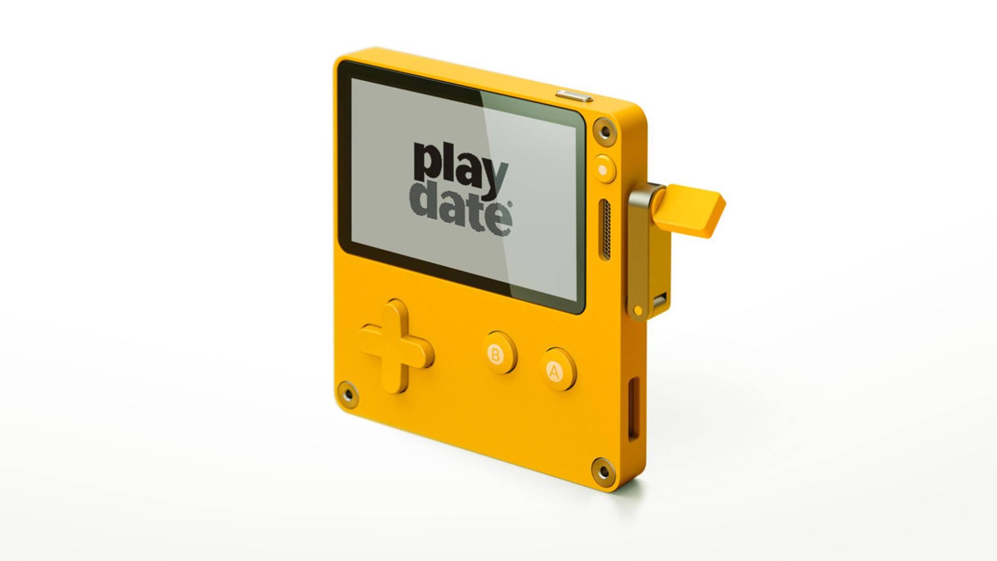 Klein, gelb, mit Kurbel: Playdate.