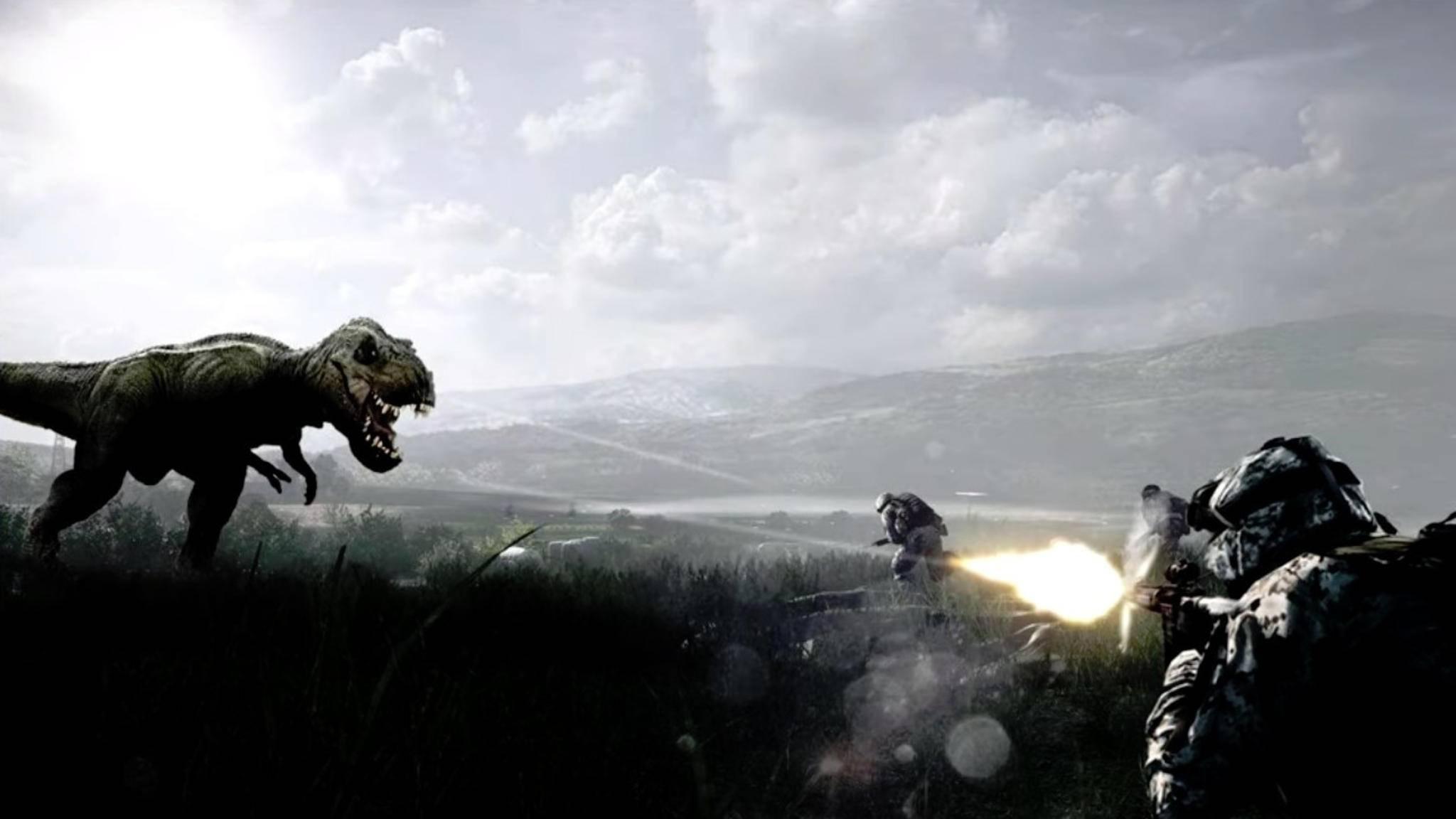 """Dinosaurier sind in """"Battlefield"""" schon lange ein Running Gag. Kommt in """"Battlefield 5"""" jetzt wirklich der Dino-Modus?"""