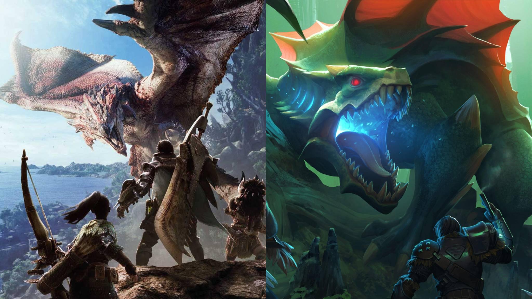 """""""Monster Hunter World"""" (l.) hat kostenlos spielbare Konkurrenz bekommen – von """"Dauntless"""" (r.)."""