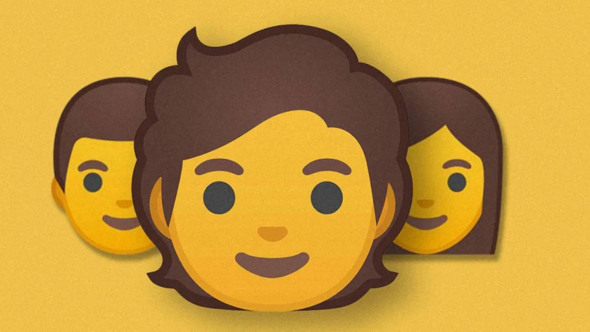Viele Gender-Fluid-Emojis von Google haben einfach mittellanges Haar.