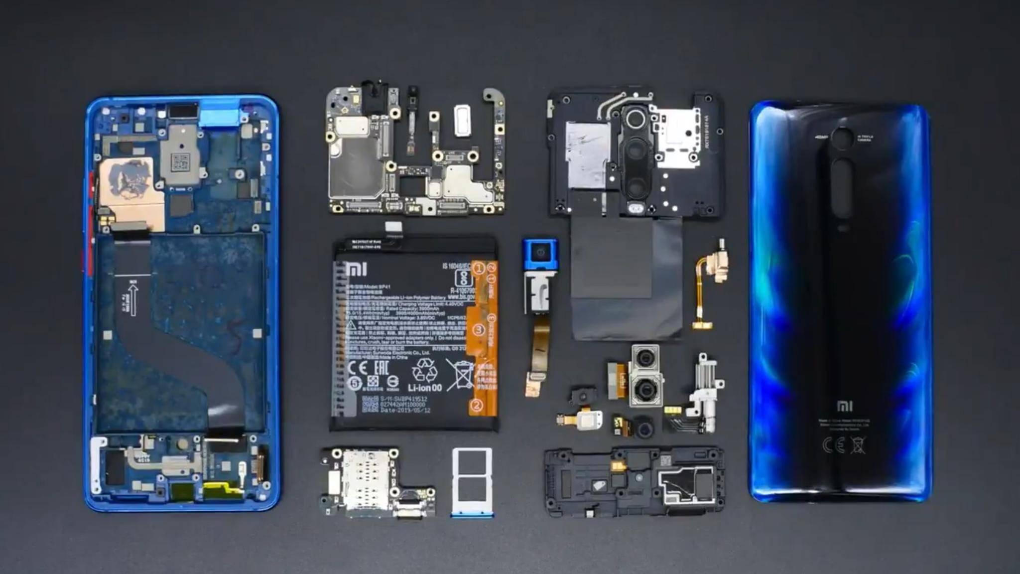 So sieht das Xiaomi 9T im zerlegten Zustand aus.