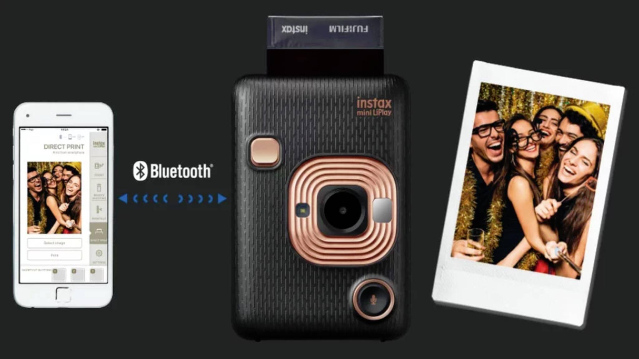 Die Sofortbildkamera Fujifilm Instax Mini LiPlay kann auch Ton aufnehmen.
