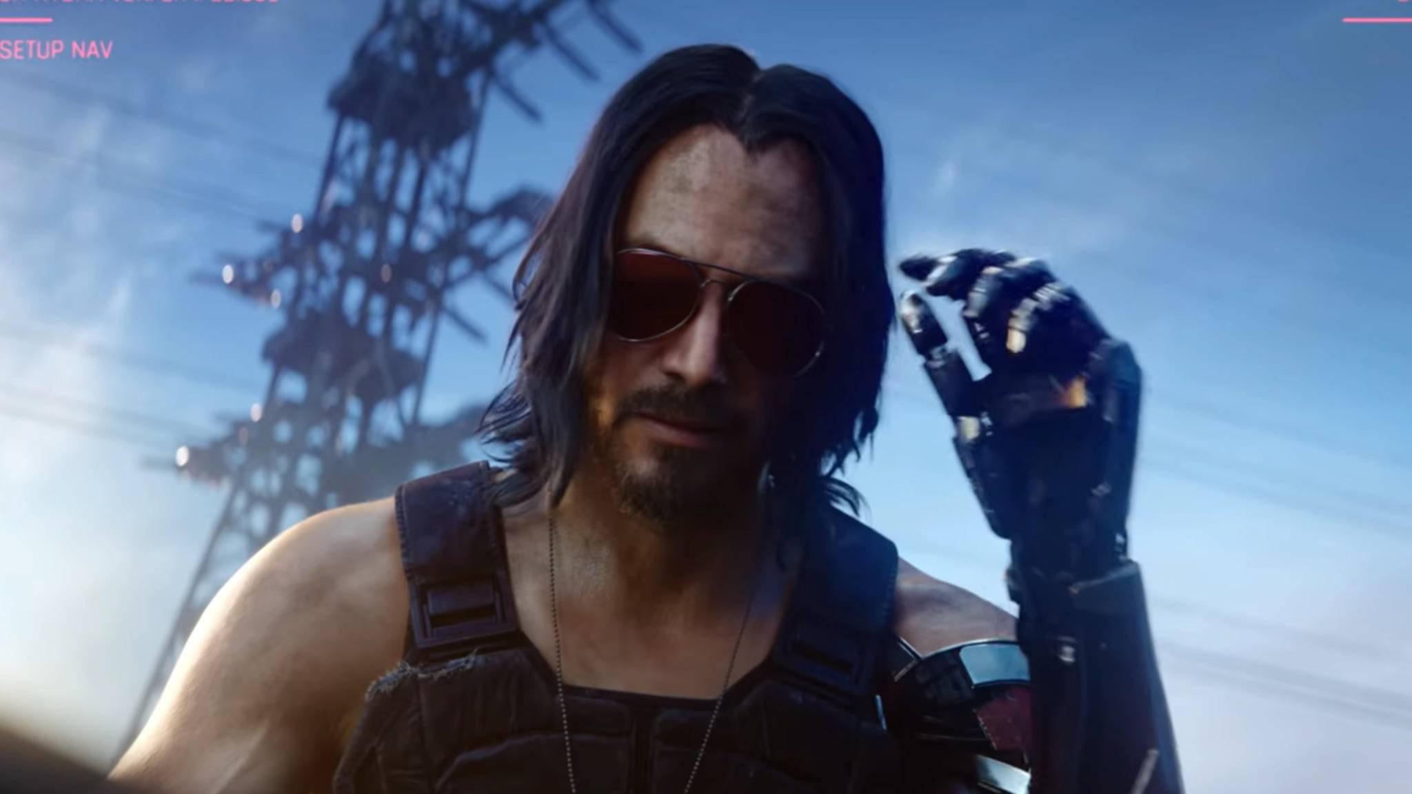 """Keanu Reeves leiht """"Cyberpunk 2077""""-Charakter Johnny Silverhand nicht nur sein Gesicht."""