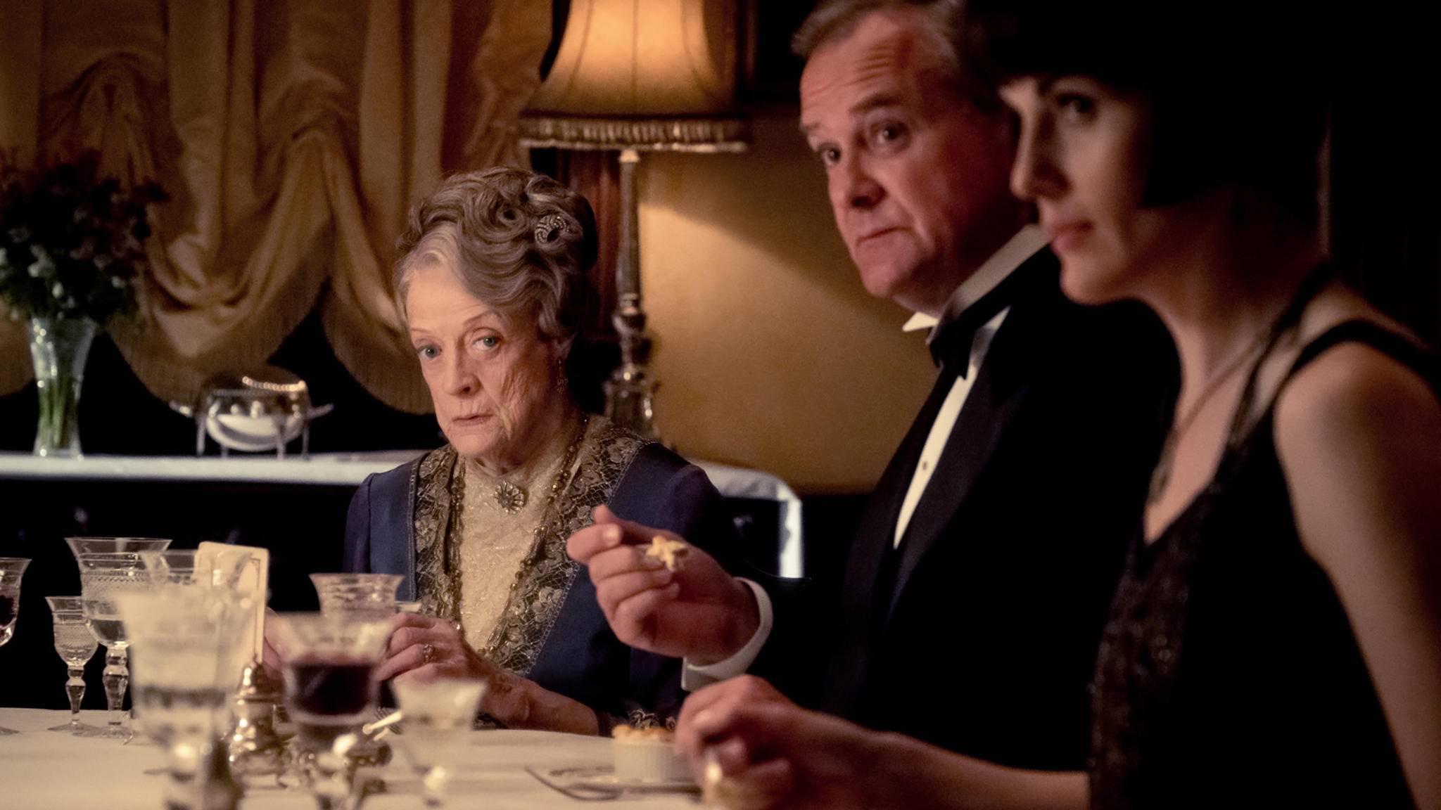 """Nicht alle Darsteller (von links: Maggie Smith, Hugh Bonneville, Michelle Dockery) konnten sich sofort für den """"Downton Abbey""""-Film erwärmen."""