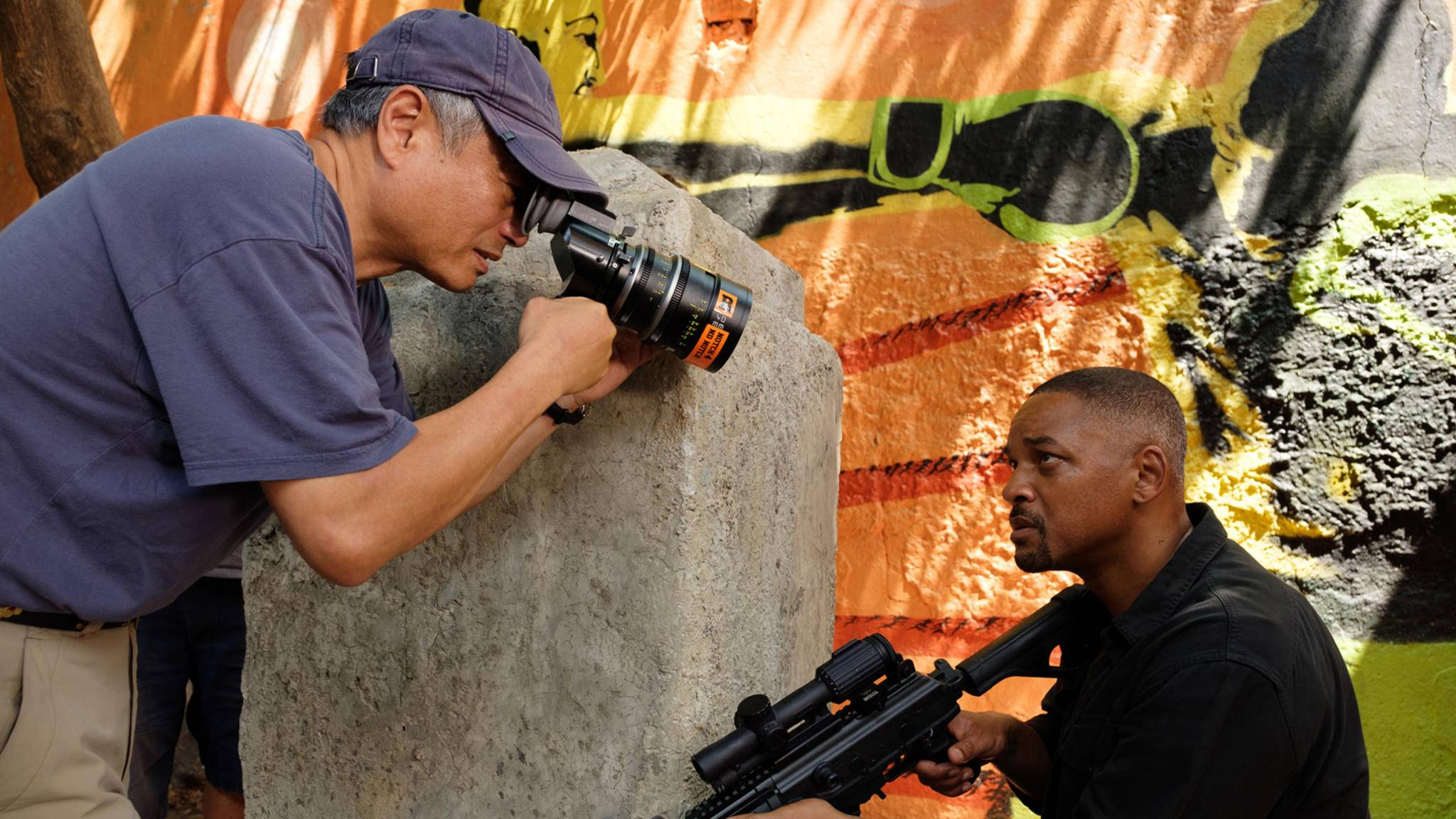 """Regisseur Ang Lee und Hauptdarsteller Will Smith am Set von """"Gemini Man"""""""