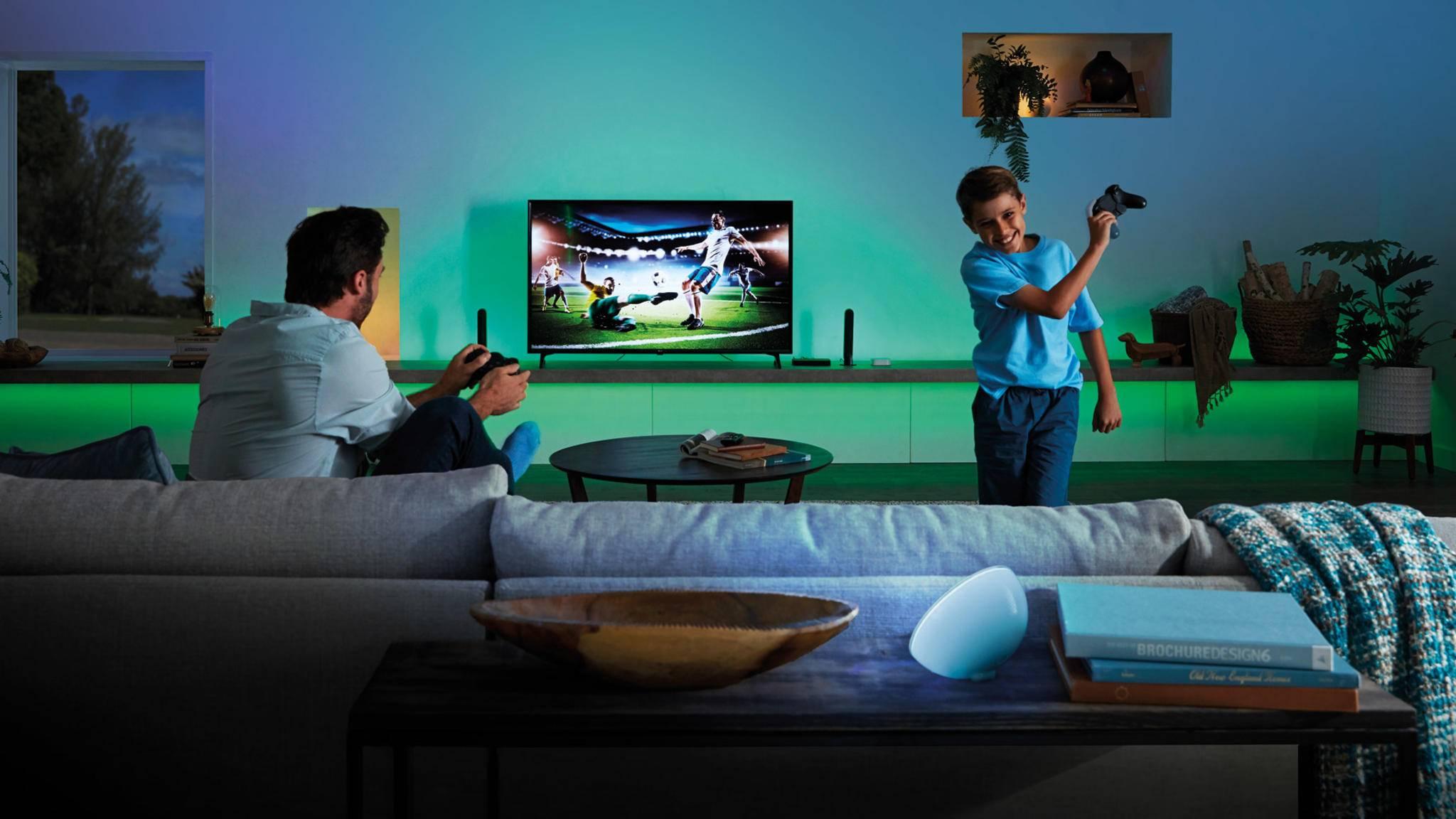 Die Philips-Hue-Lichtshow funktioniert nun auch im Zusammenspiel mit dynamischem HDR.
