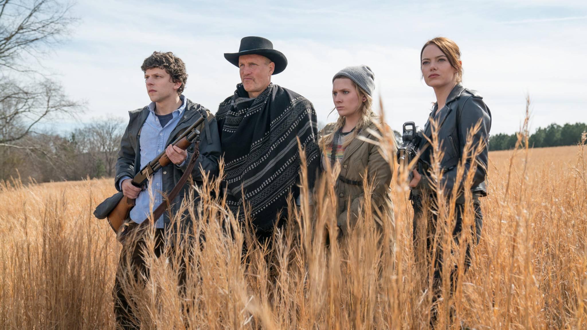 Jesse Eisenberg, Woody Harrelson, Abigail Breslin und Emma Stone in Zombieland 2