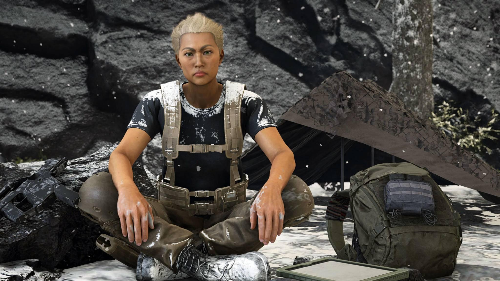 """Nichts los im Biwak: Die Heldin in """"Ghost Recon Breakpoint"""" hat's nicht leicht."""
