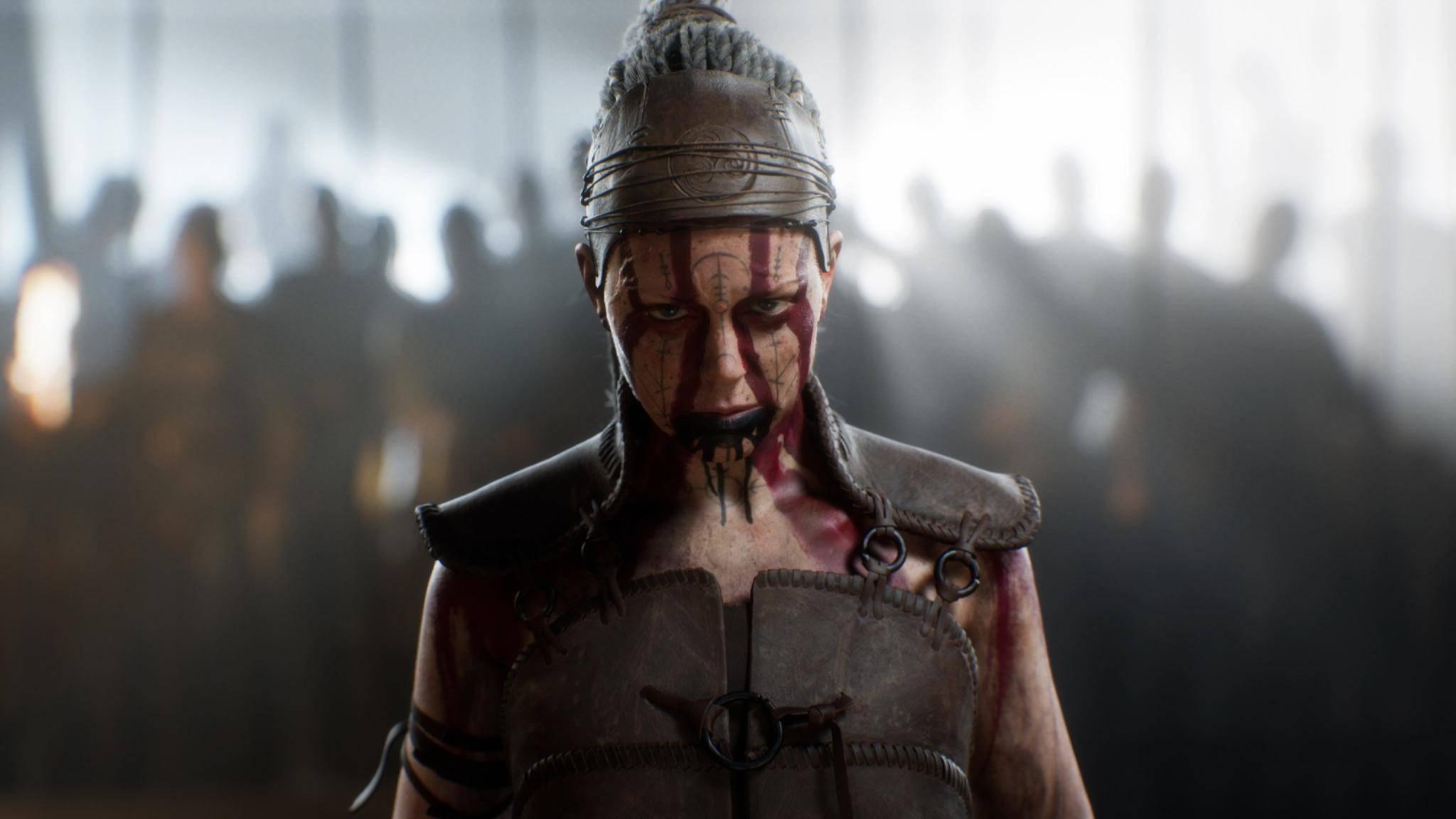 """Screenshot aus """"Senua's Saga: Hellblade 2"""": Diese junge Dame hat ein paar tief sitzende Probleme."""