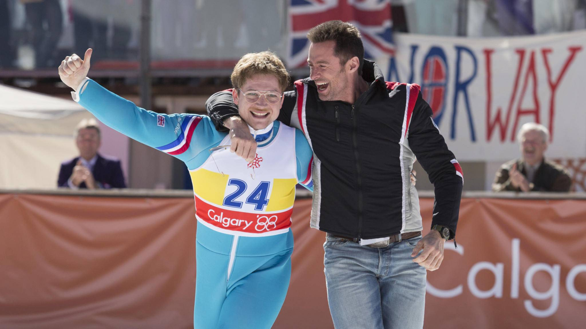 Eddie the Eagle Taron Egerton Hugh Jackman